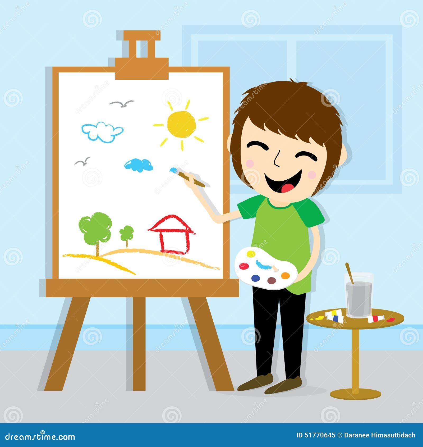 Design för pojkekonstnärDrawing Cute Cartoon vektor