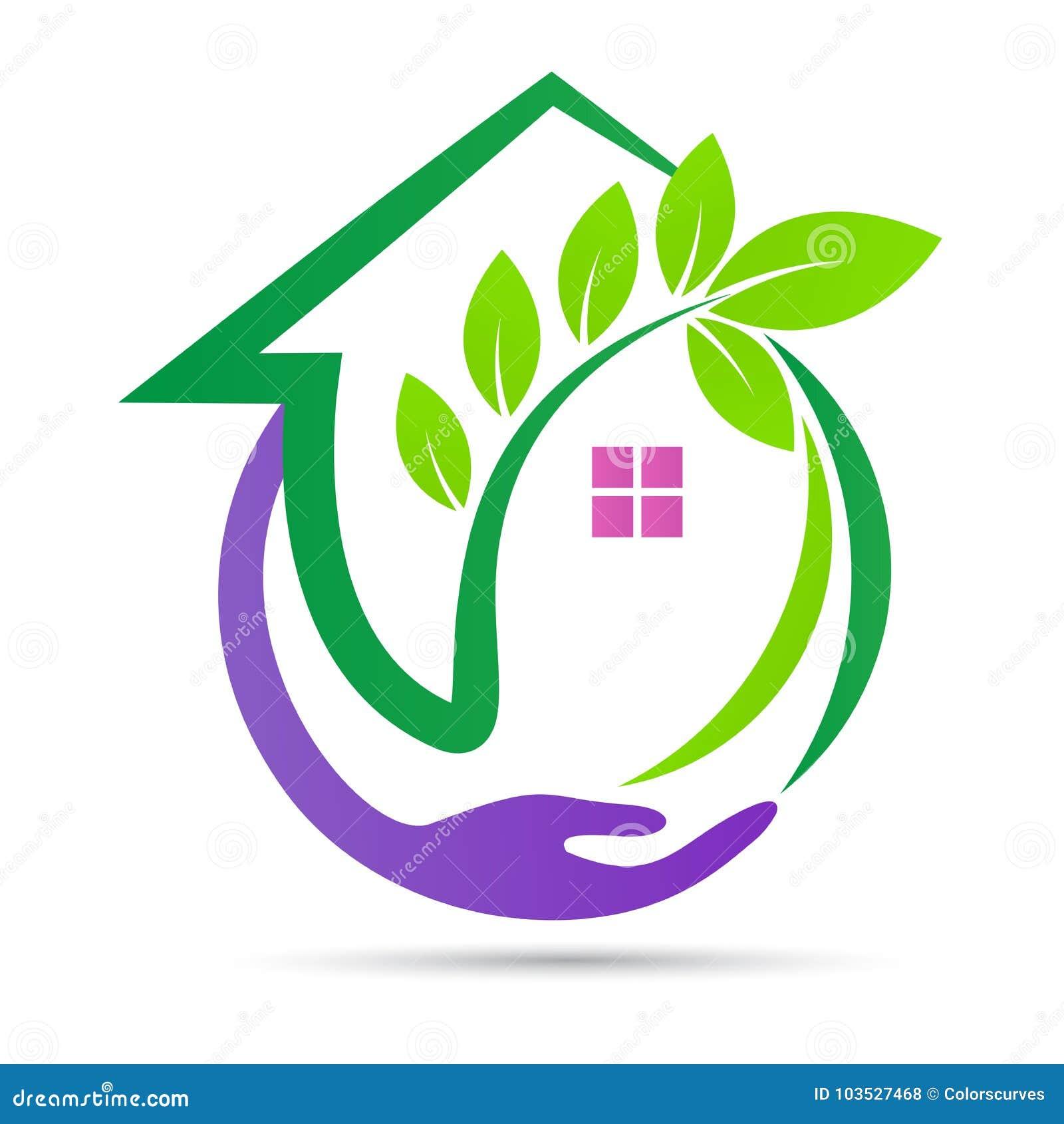 Design för säkerhet för miljö för logo för hem för Eco gräsplanomsorg