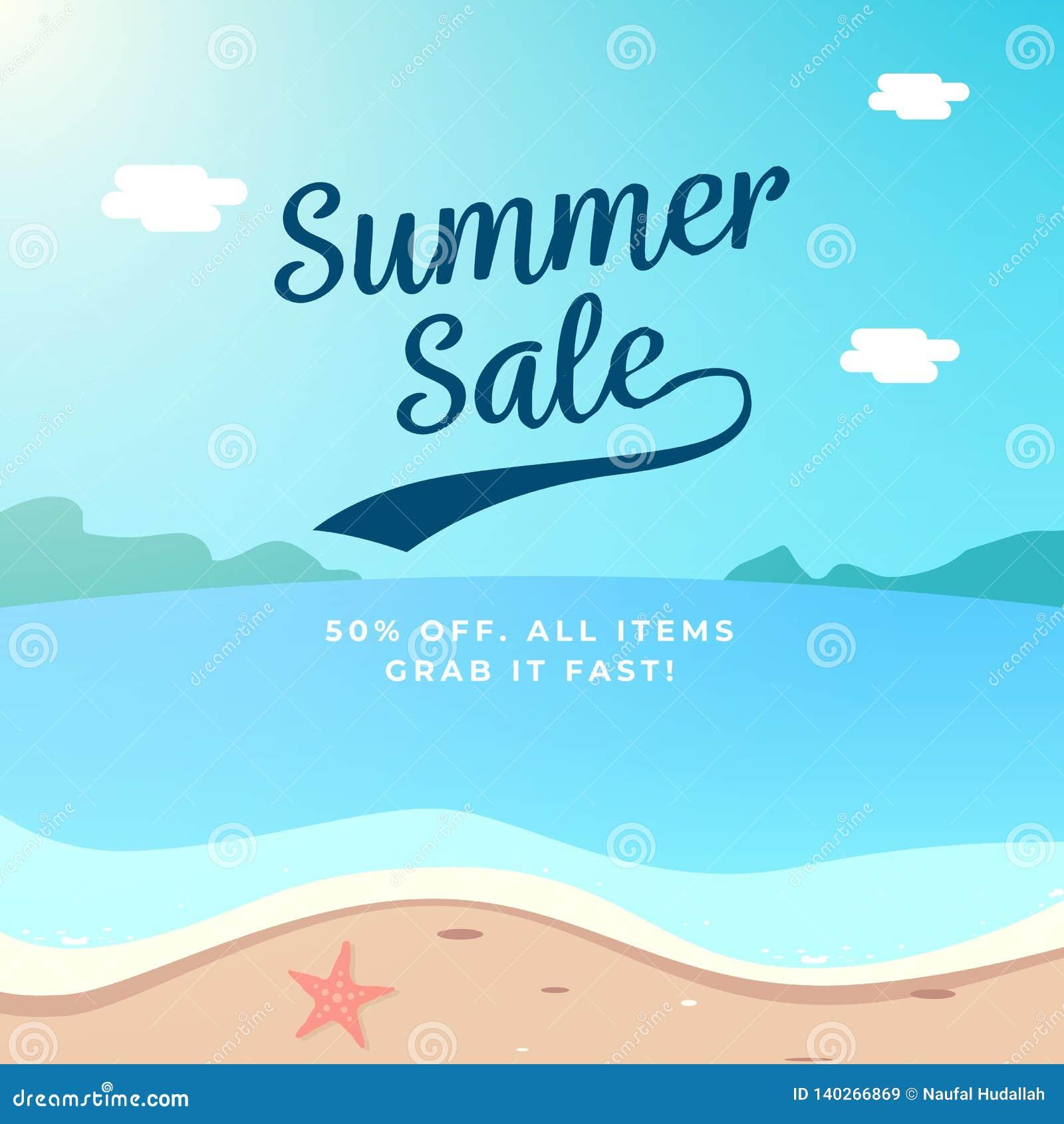 Design för sommarSale bakgrund illustration för strandlandskapvektor