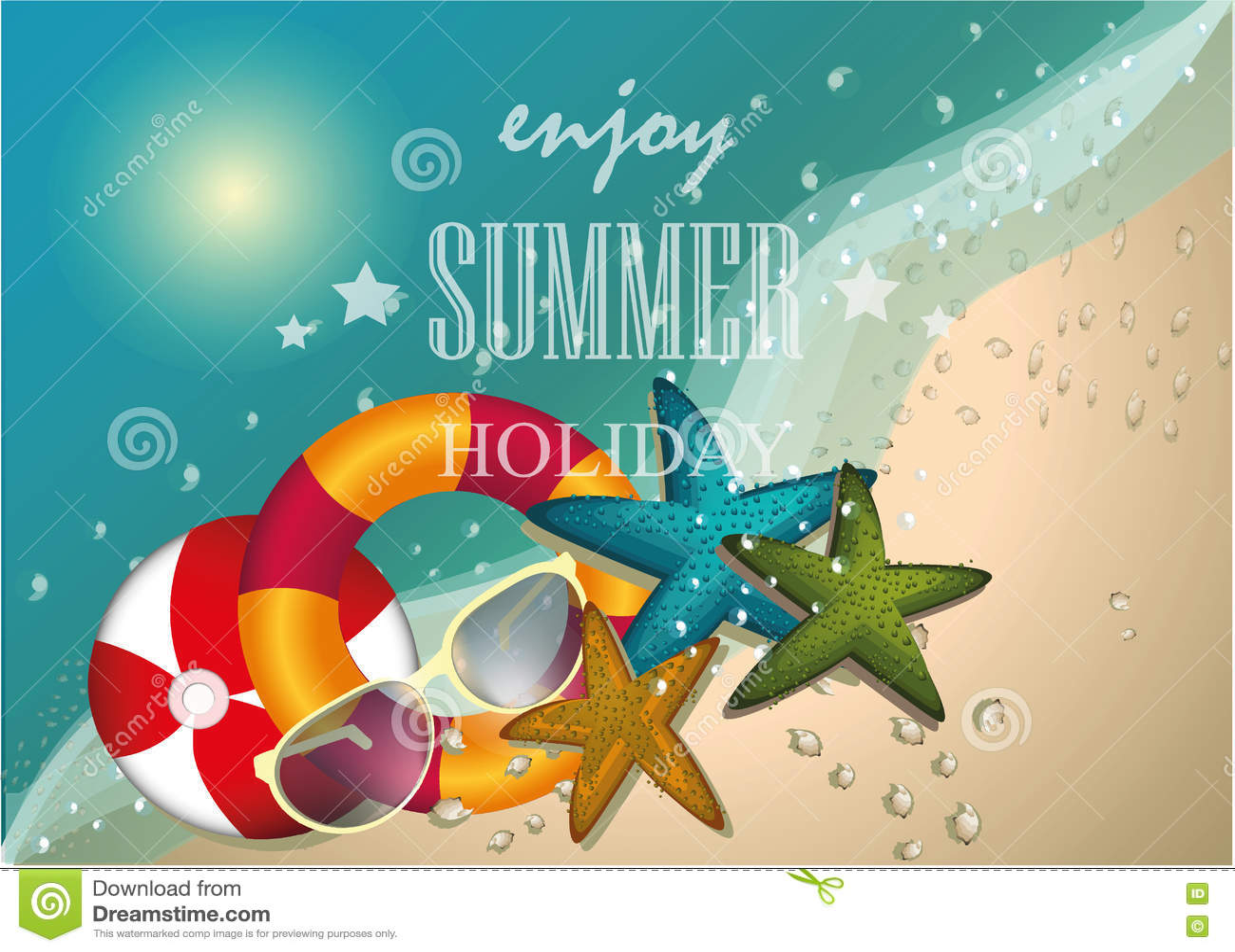 Design för sommarstrandvektor, tecken, bakgrund, illustration