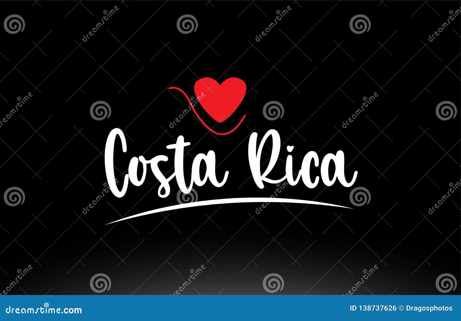 Design för symbol för logo för typografi för Costa Rica landstext på svart bakgrund