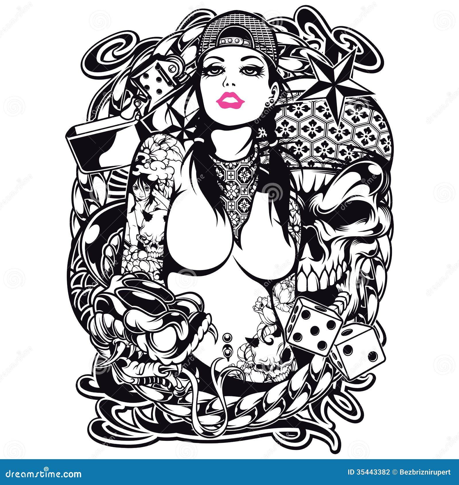 Design för tatueringflickaskjorta