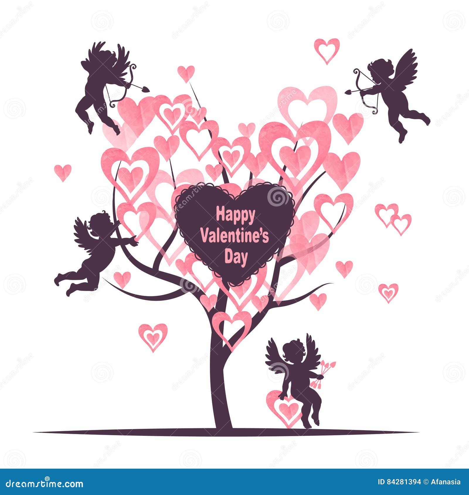 Design för valentindagkort med förälskelseträdet och gulliga kupidon
