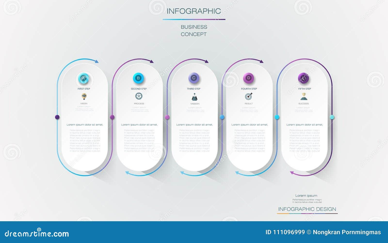 Design för vektorInfographic etikett med symboler och 5 alternativ eller moment Infographics för affärsidé