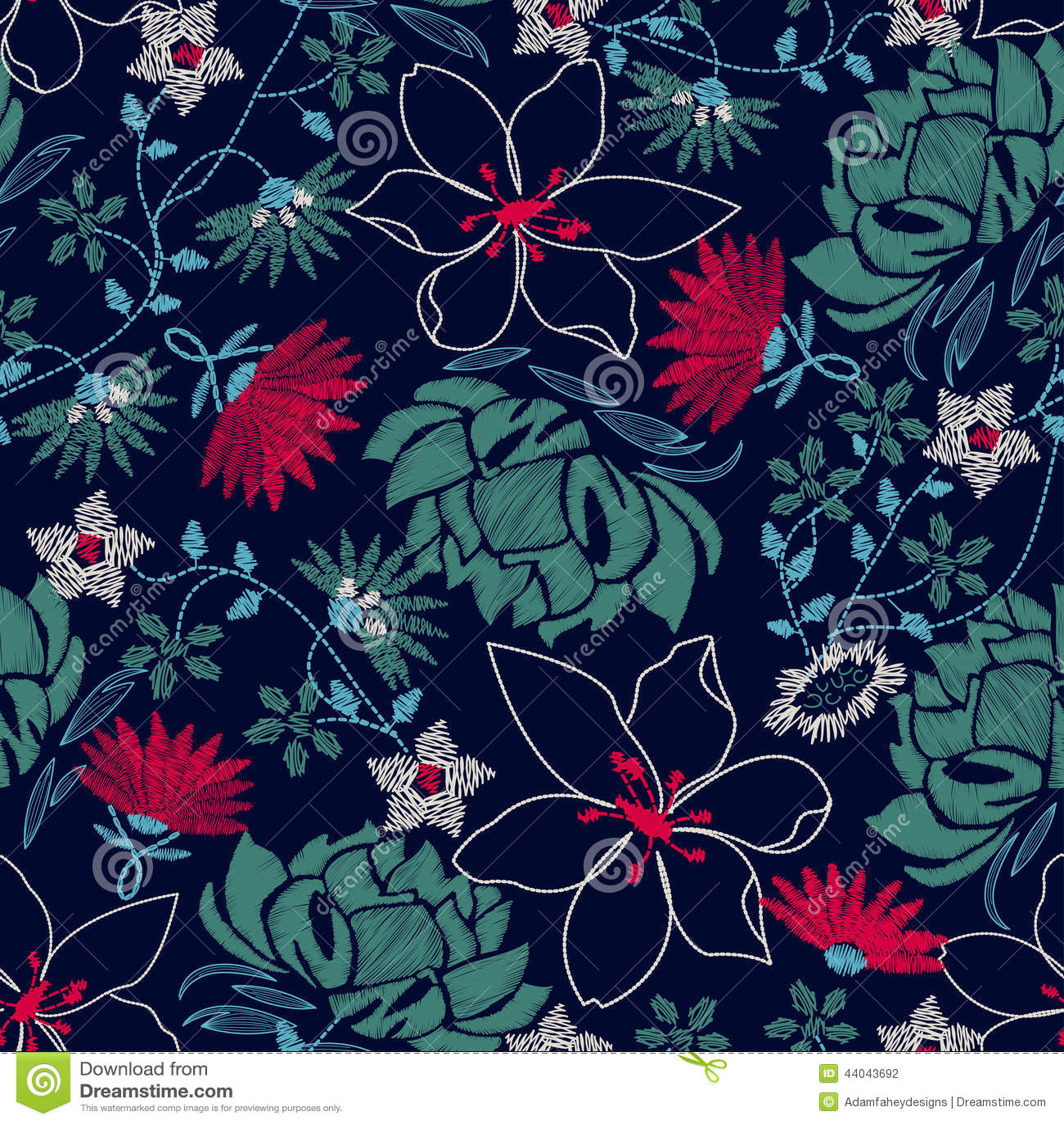Design floral luxúria do bordado tropical em um teste padrão sem emenda