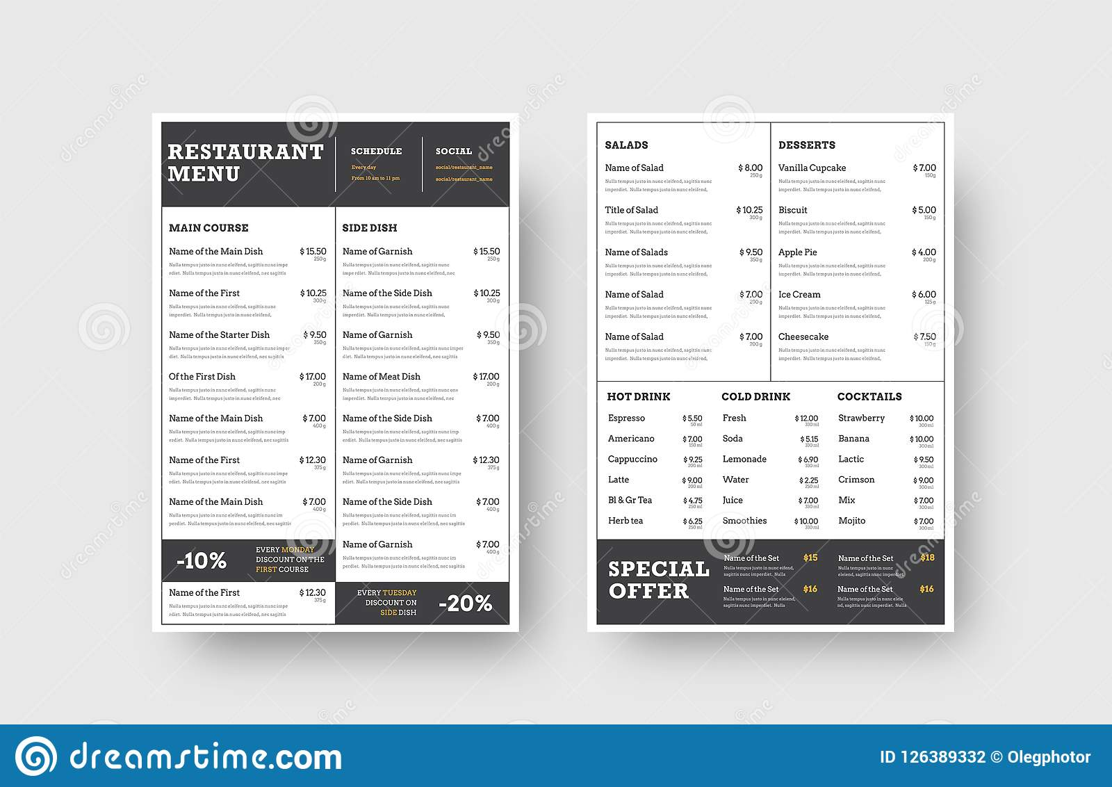 design the front and back pages of the menu for a restaurant or