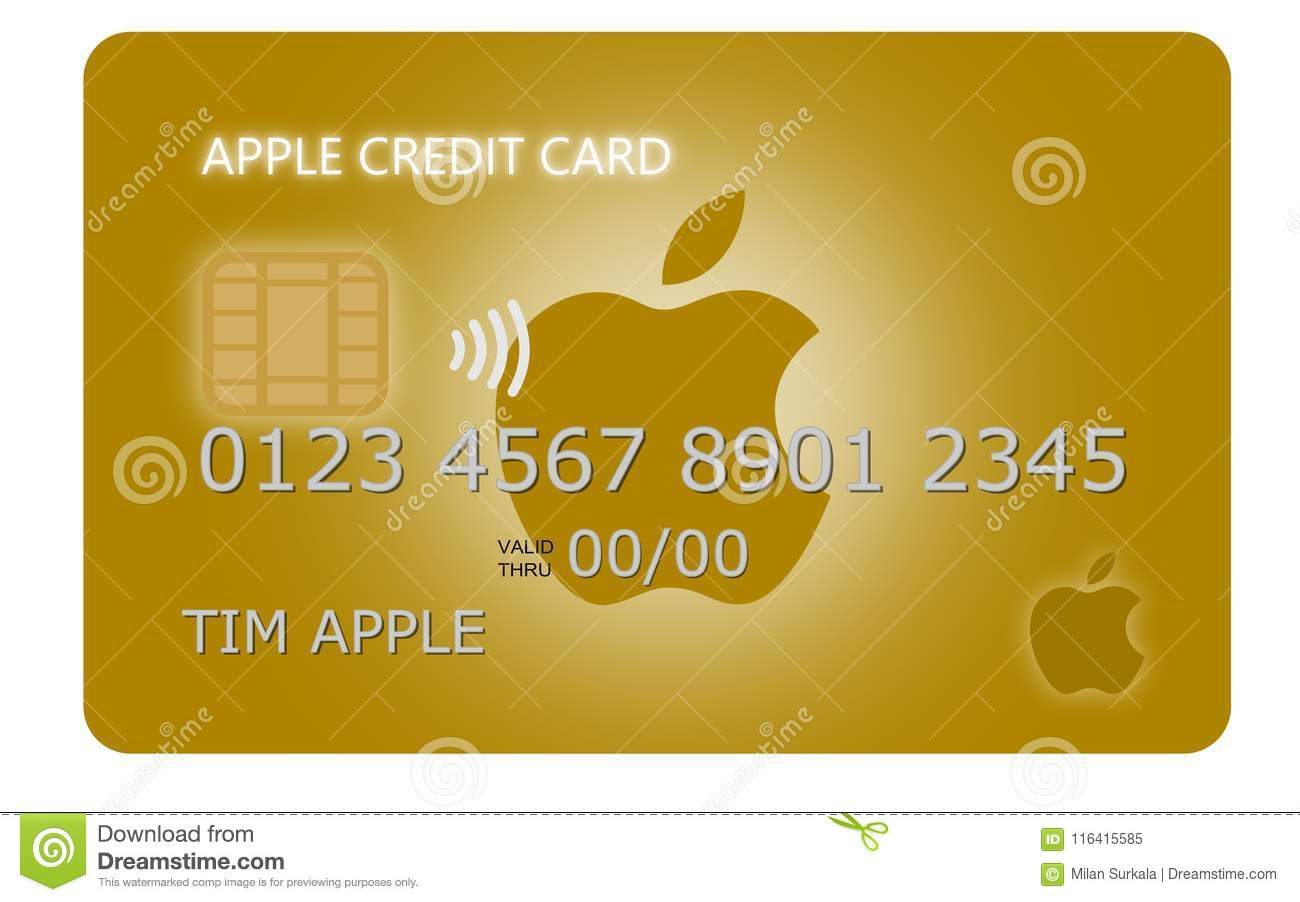 Design Of A Golden Apple Pay Credit Card Editorial Image
