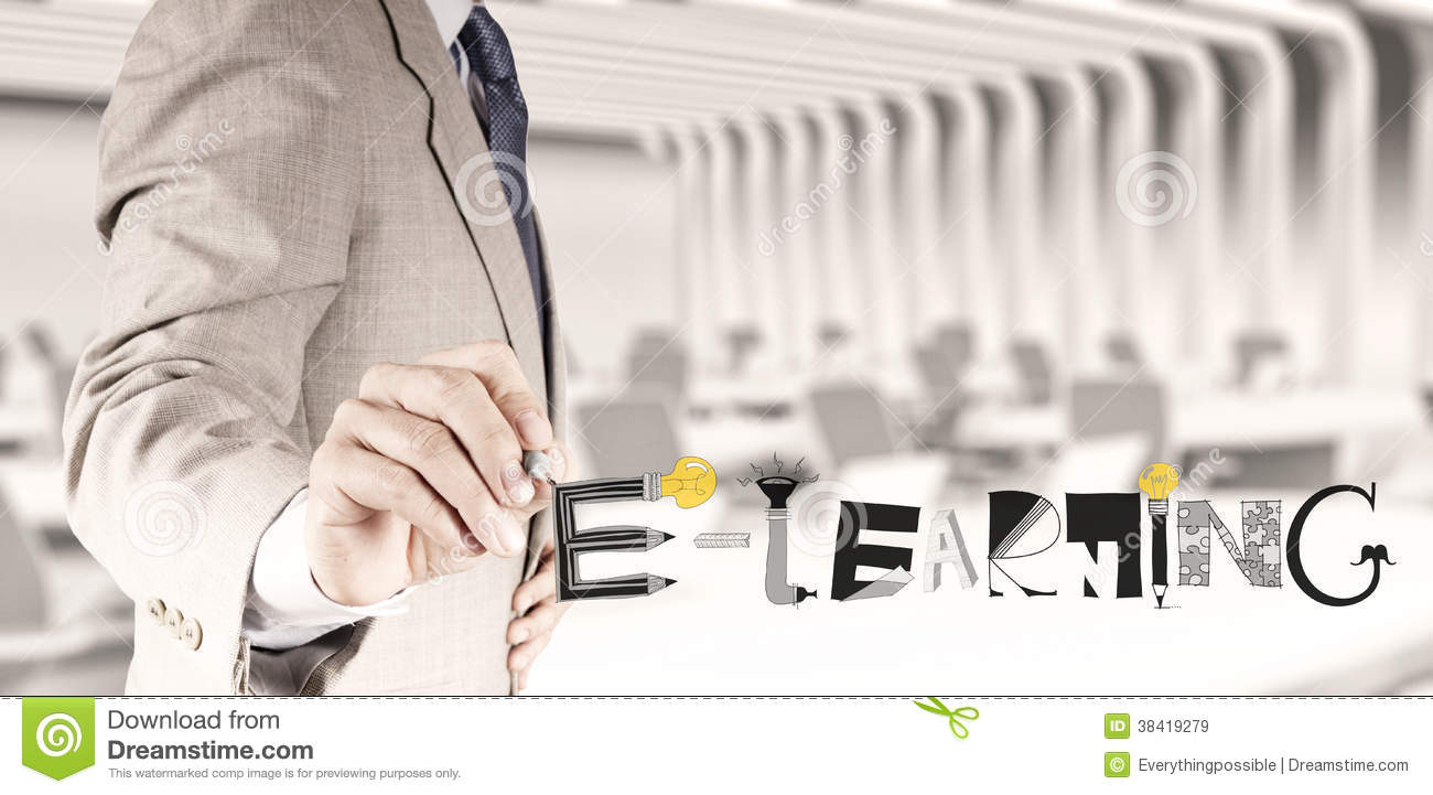 Design graphic handdrawn E-LEARNING word