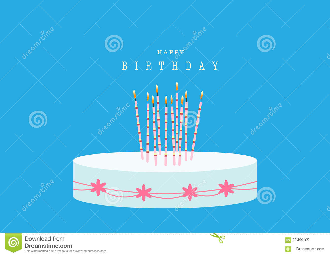 Blue And Pink Happy Birthday Card Vector Image 18150004 – Blue Birthday Cards