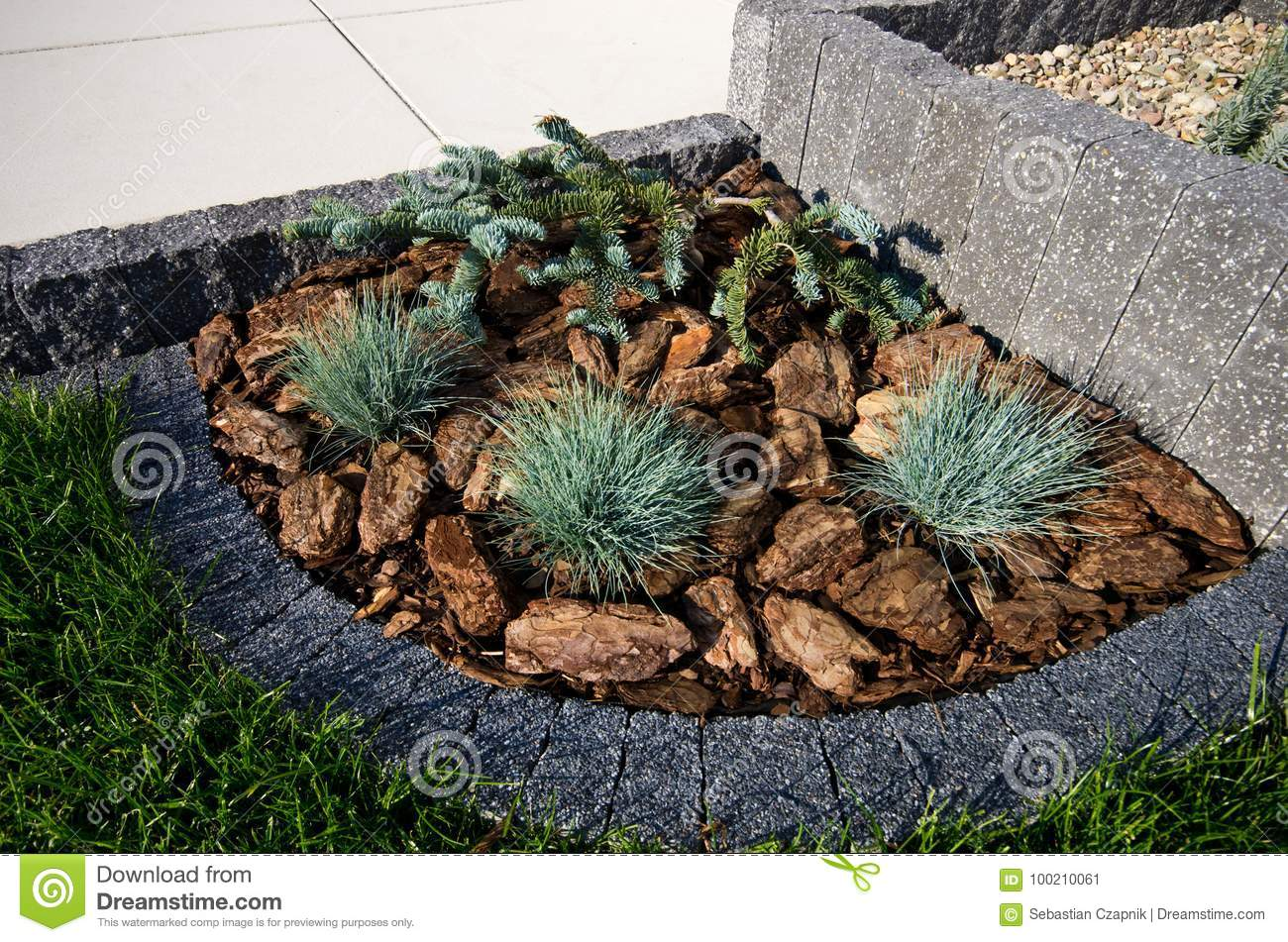 House Corner Design Idea Stone Framing As Flowerbed Evergreens And Lavender Plants Terrace Stock Image Image Of Shaped Bark 100210061
