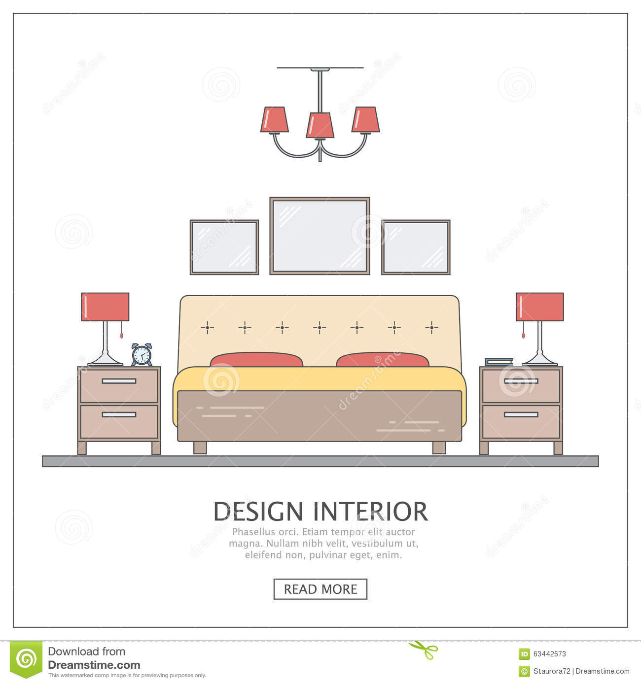 Interior Design Modern Bedroom Banner Vector Illustration 80090390