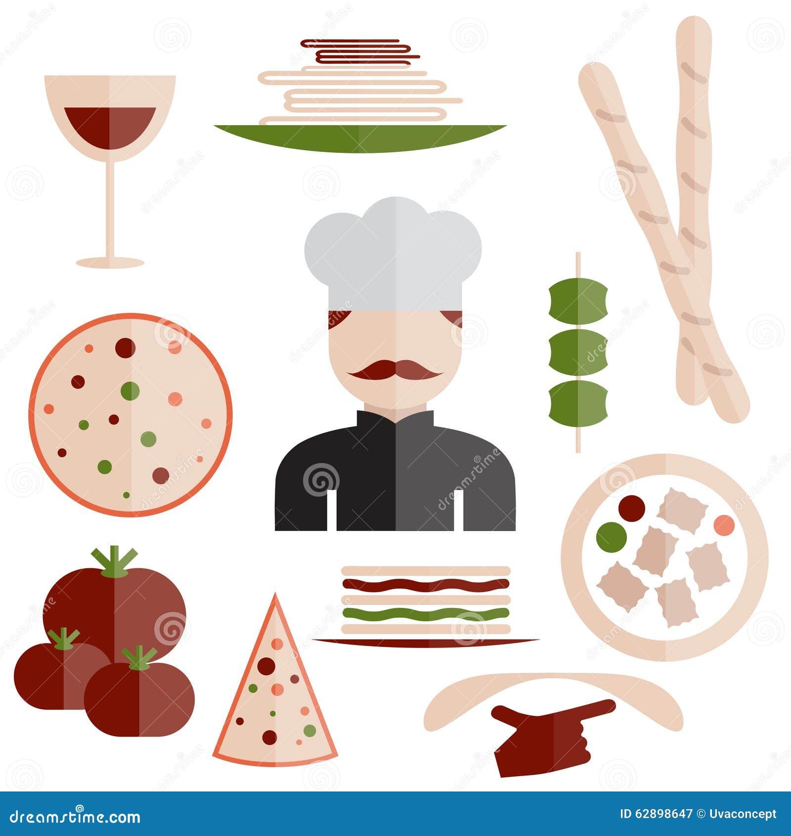 Design italian cuisine elements and chef stock vector - Elements cuisine independants ...