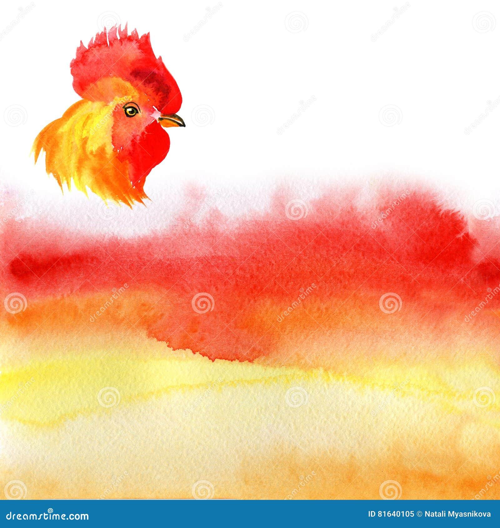 Design Karte des Chinesischen Neujahrsfests mit rotem Hahn, Tierkreissymbol von 2017, auf brennendem Hintergrund des Aquarells