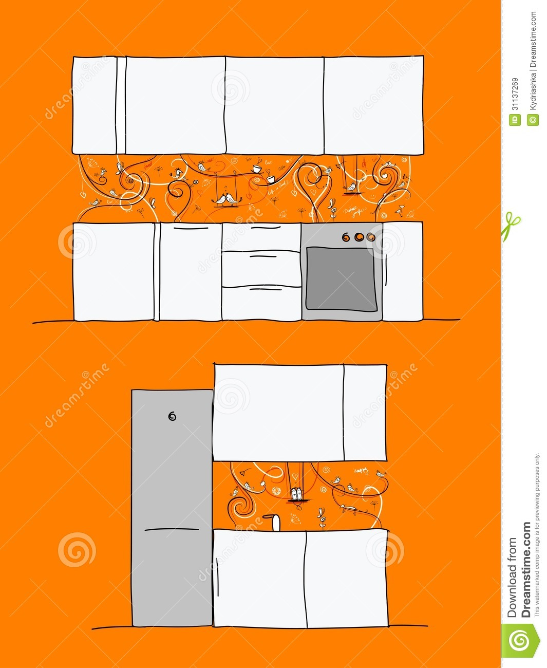 Kitchen Wall Design Of Kitchen Wall With Funny Birds And Cats Royalty Free