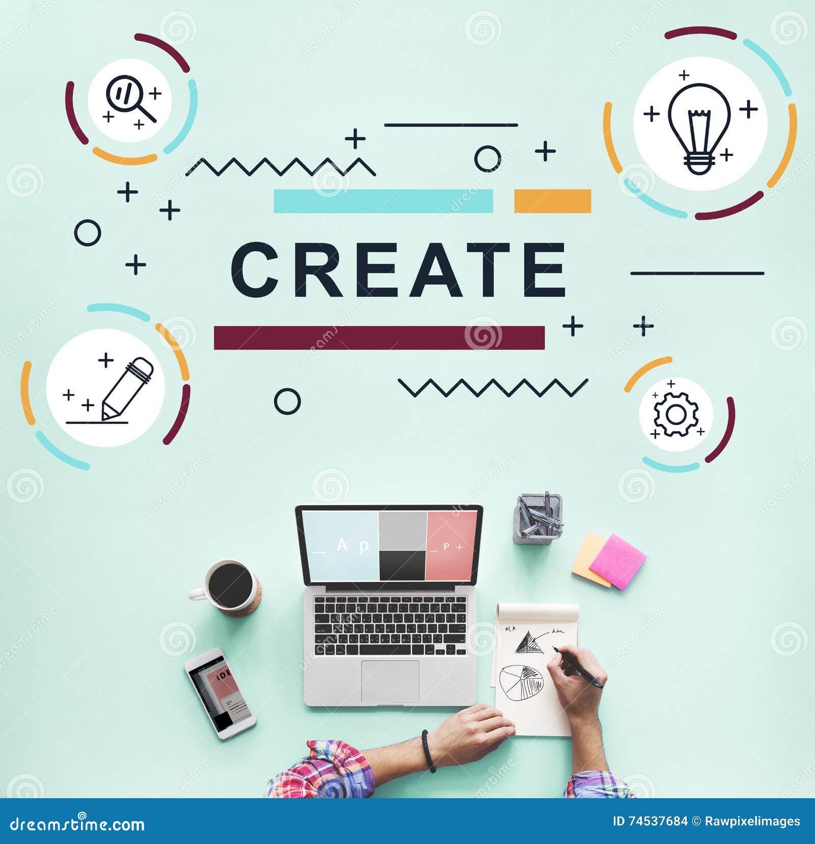 Design-kreative Fantasie-Ideen-Grafik-Konzept Stockfoto - Bild von ...
