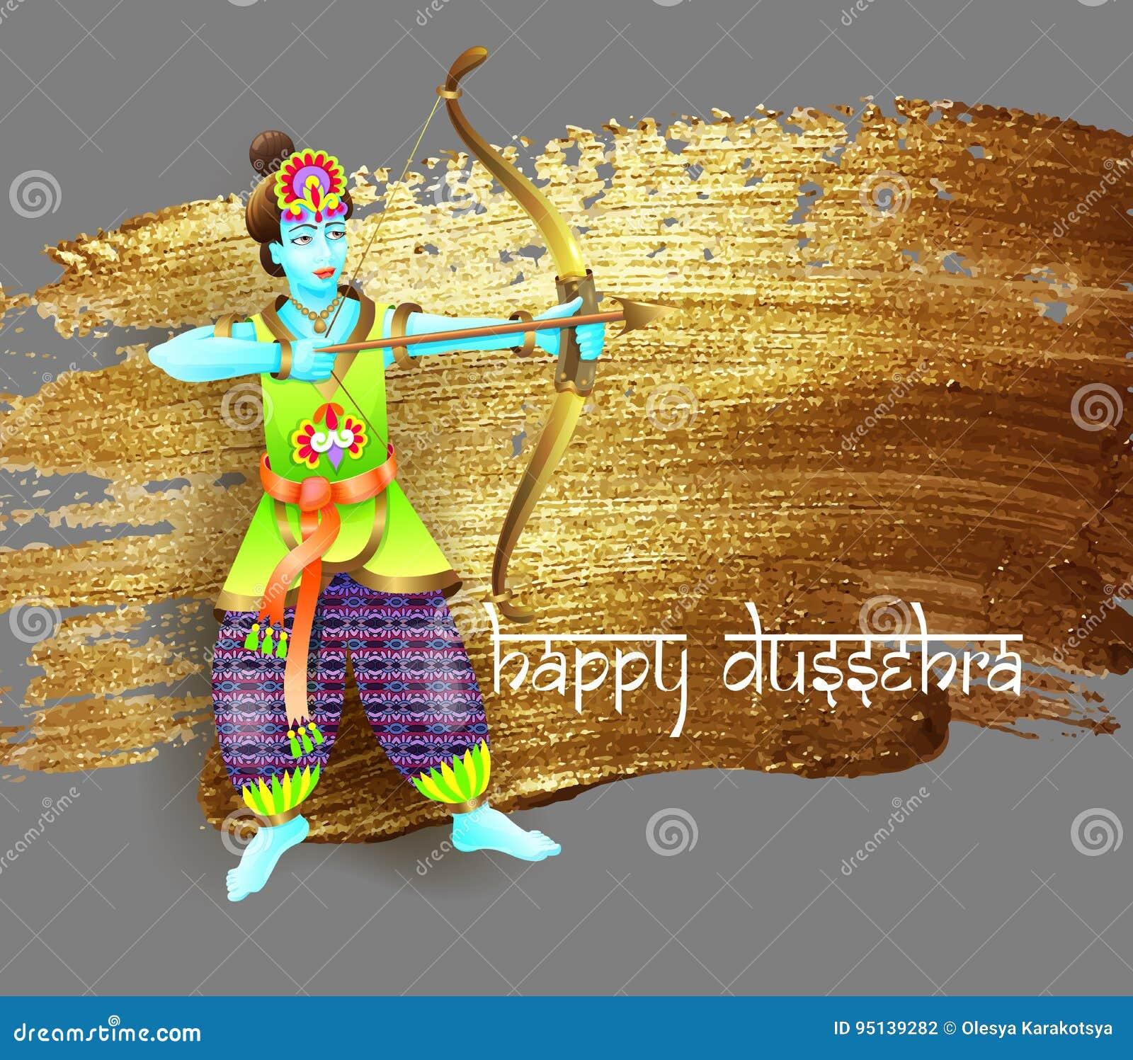 Design Krishna Shoots An Arrow From A Bow Stock Vector