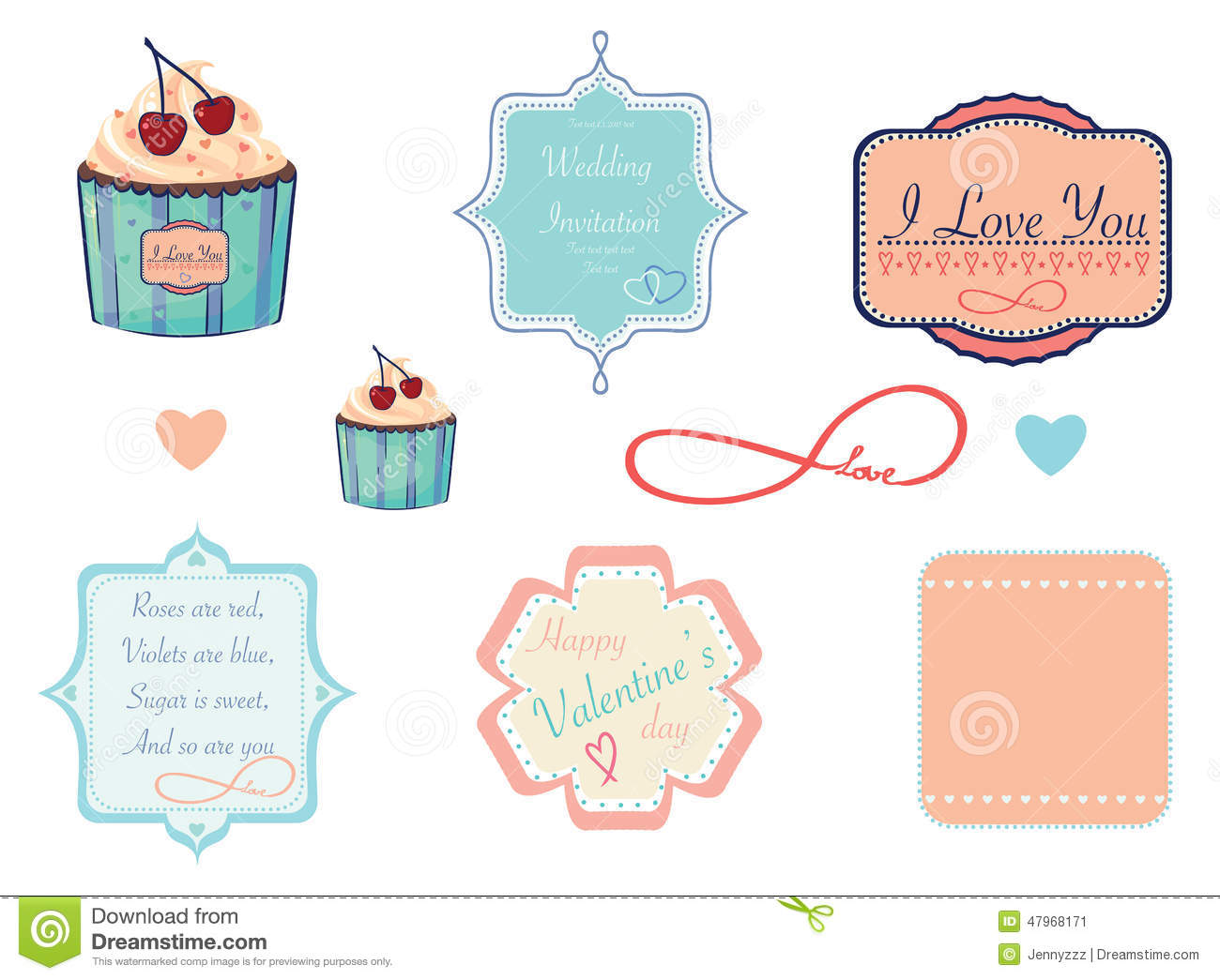 Design Labels On Love, Valentine Or Wedding Theme Stock Vector ...