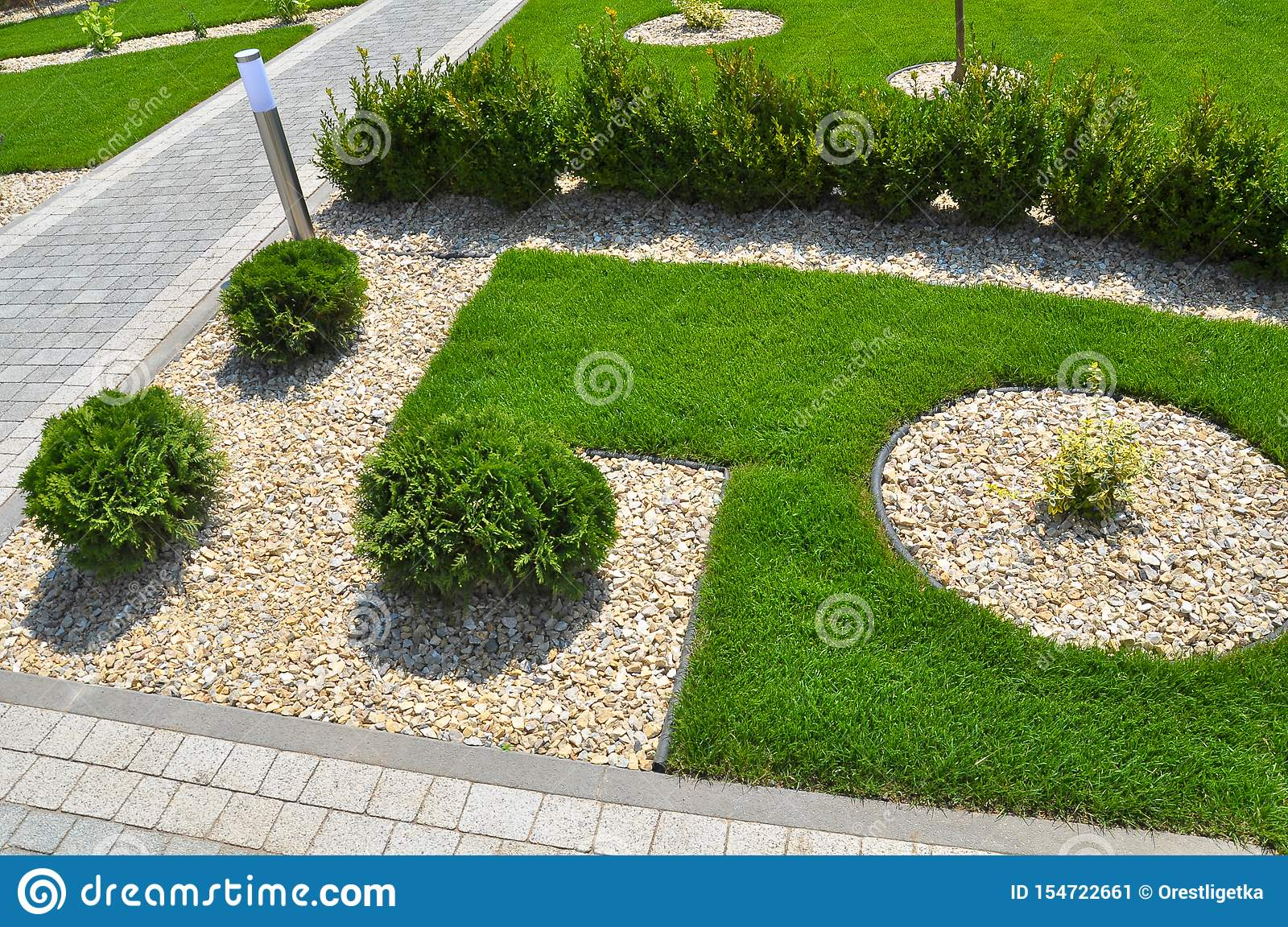 Design Of Landscaping In The Garden Park Square Recreation Area