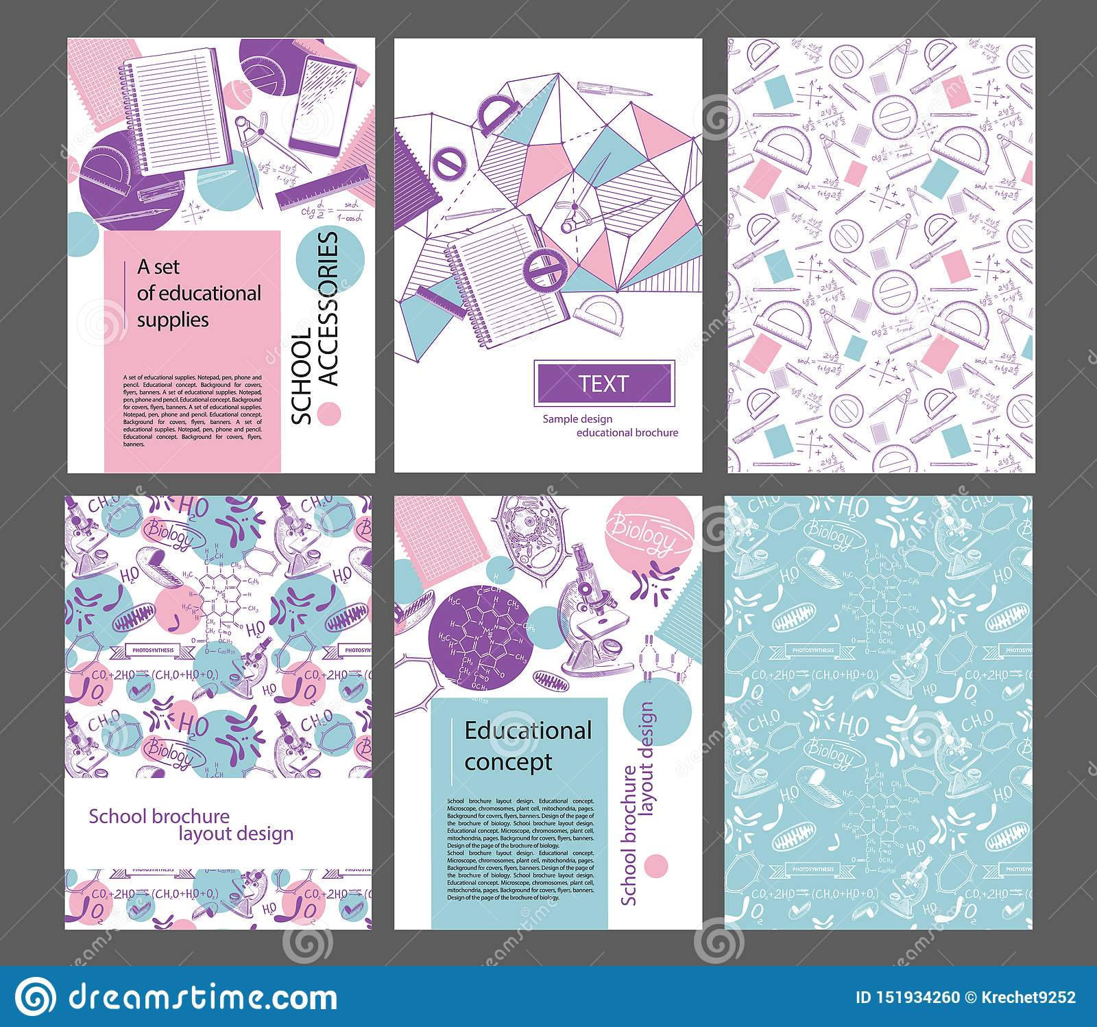 Design layout of the school brochure. Pages, protractor, pen, trigonometric functions microscopes, mitochondria. Set of