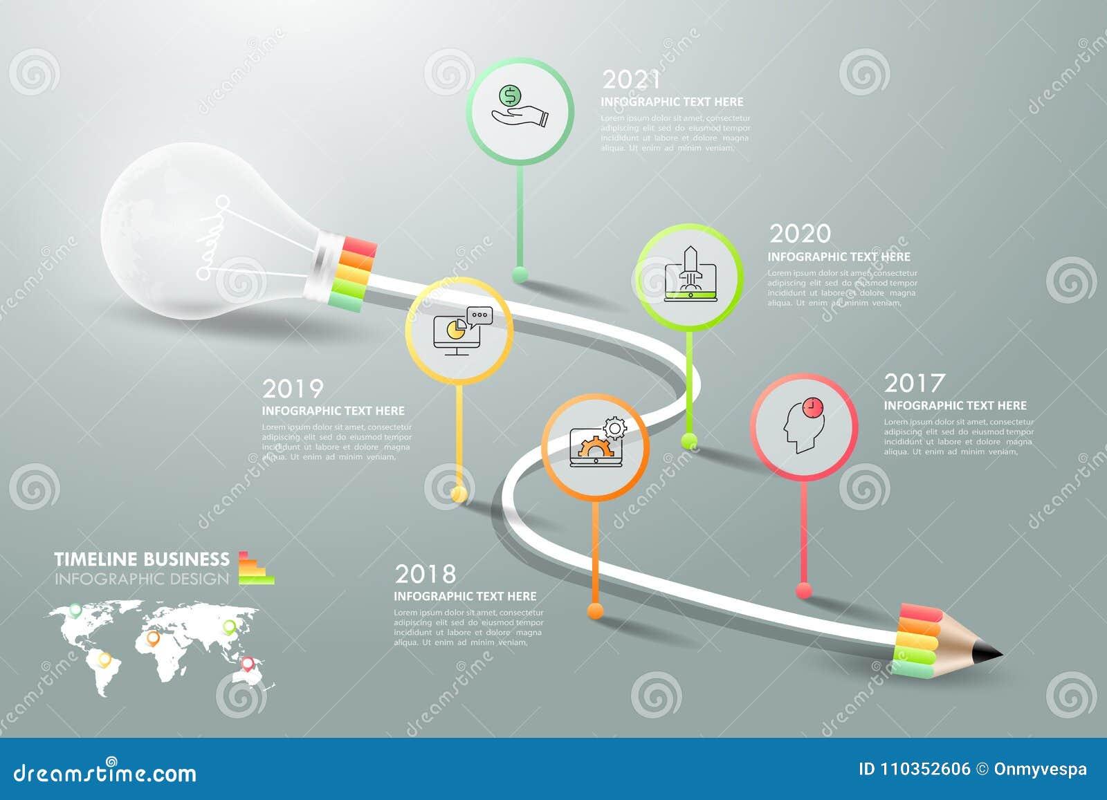 Design Lightbulb Infographic 5 Options Stock Vector Illustration Diagram Of Incandescent Light Bulb