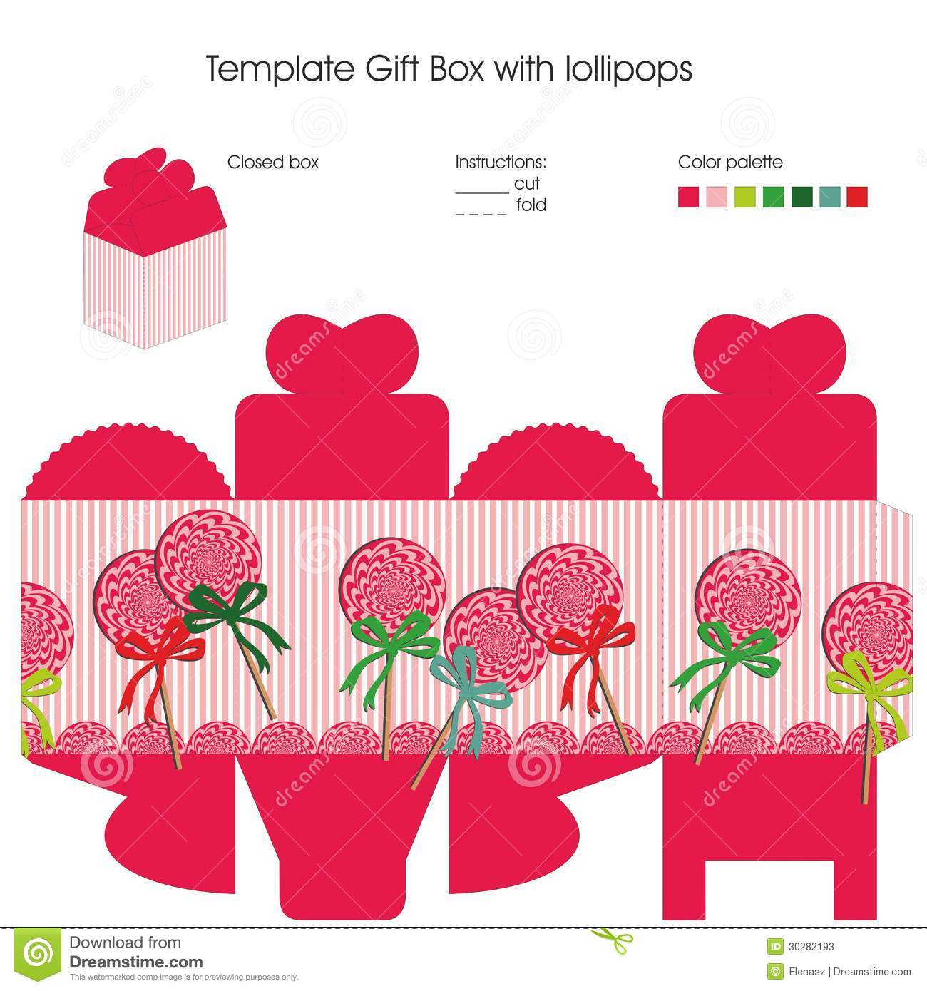Template For Gift Box Stock Vector Illustration Of Digital 30282193