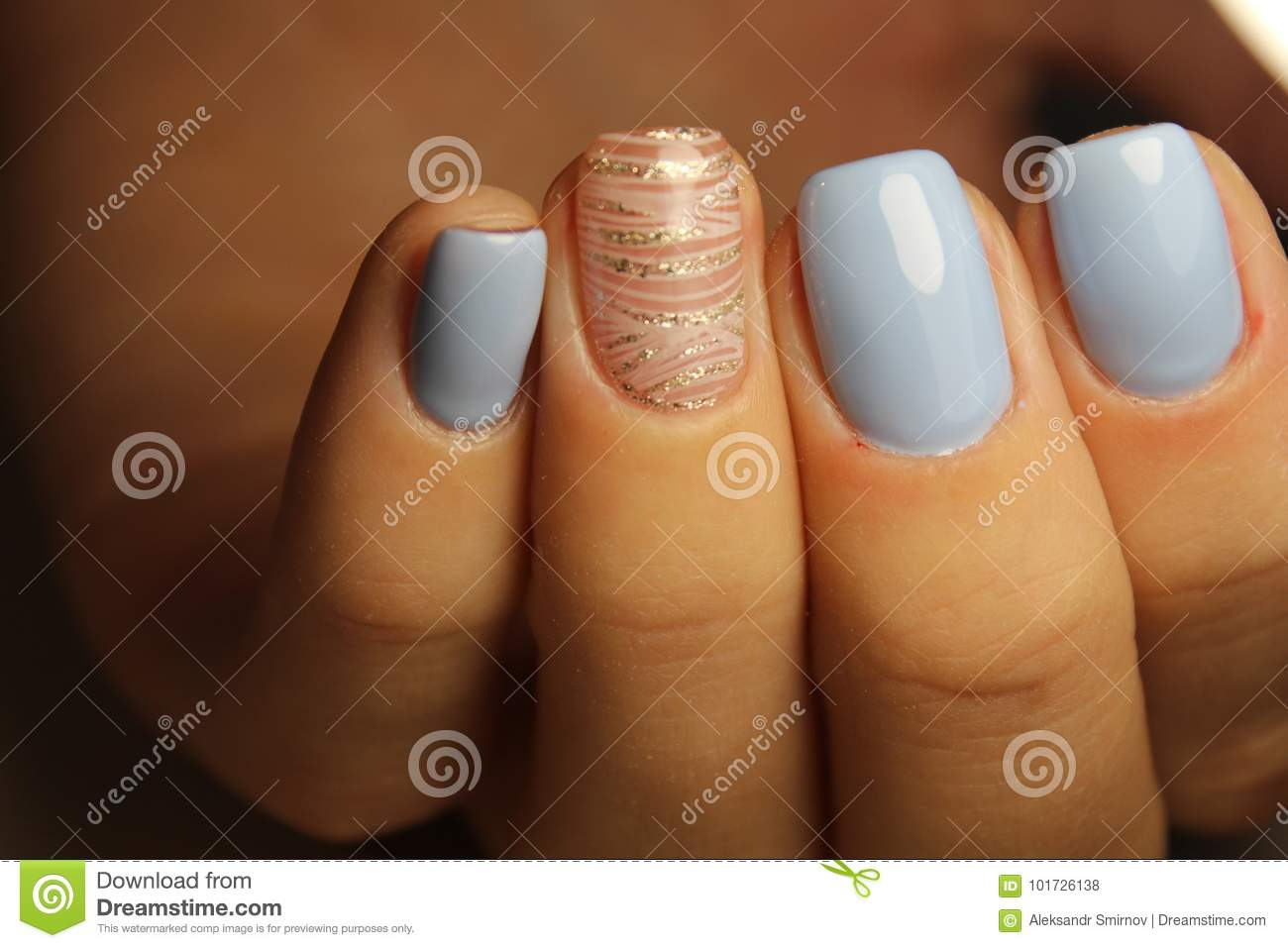 Manicure Design Lines, Blue Nails Stock Photo - Image of