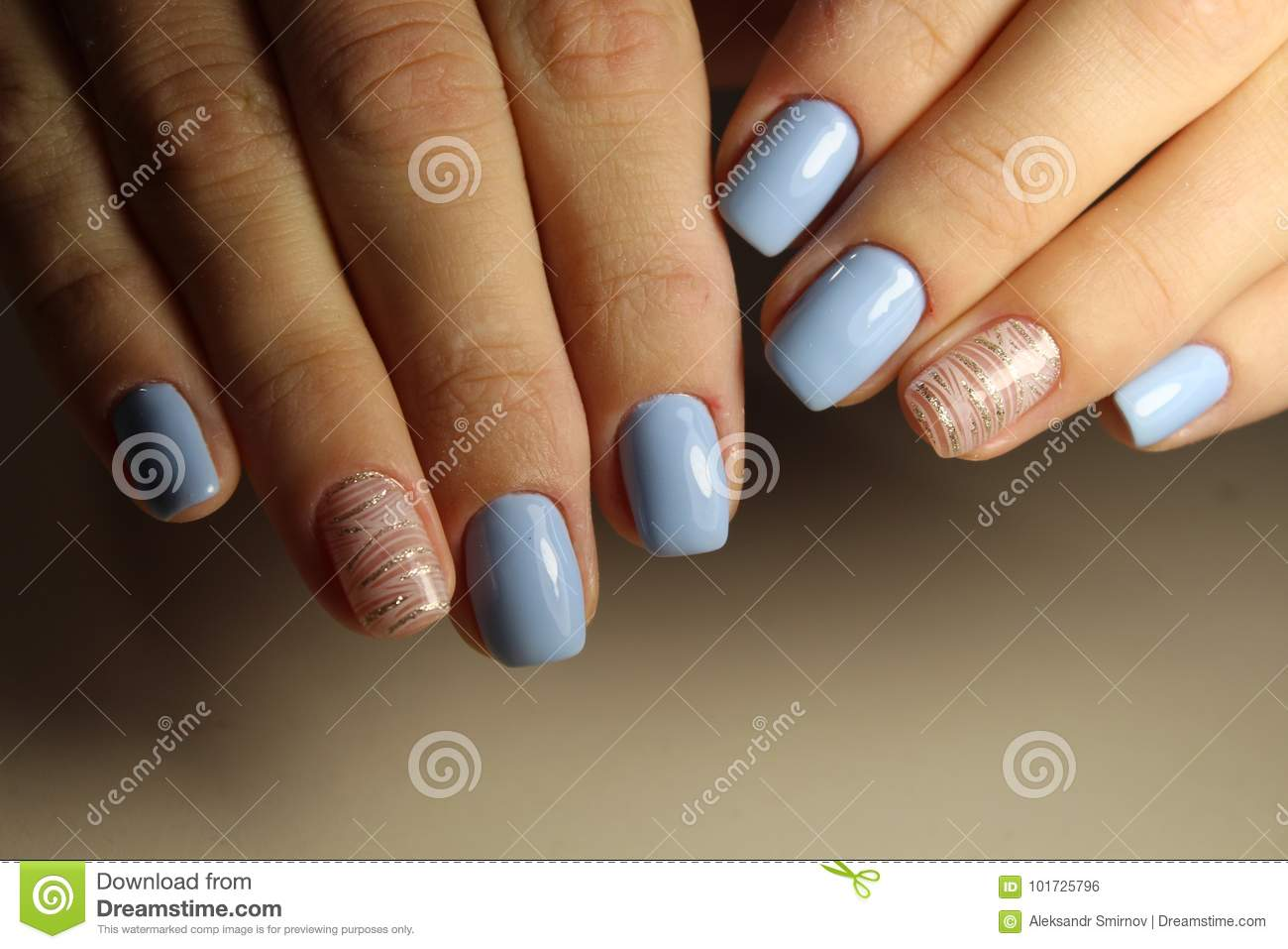 Manicure Design Lines, Blue Nails Stock Photo - Image of nails ...