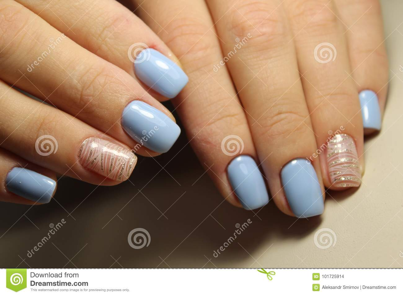 Manicure Design Lines Blue Nails Stock Photo Image Of Abstract