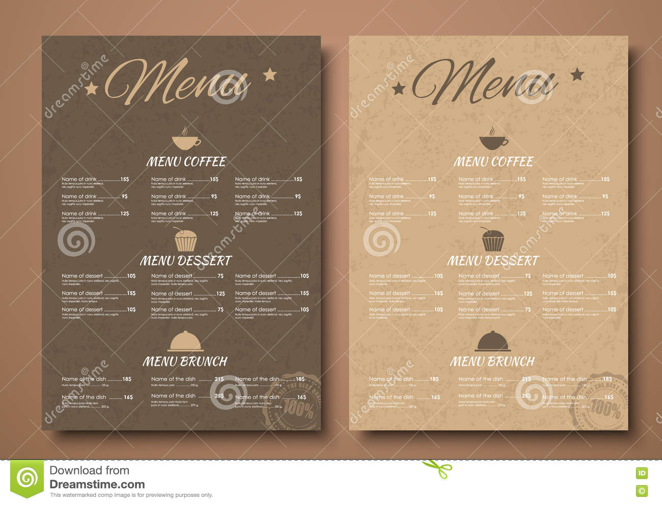 design a menu for the cafe shops or caffeine in a retro style stock