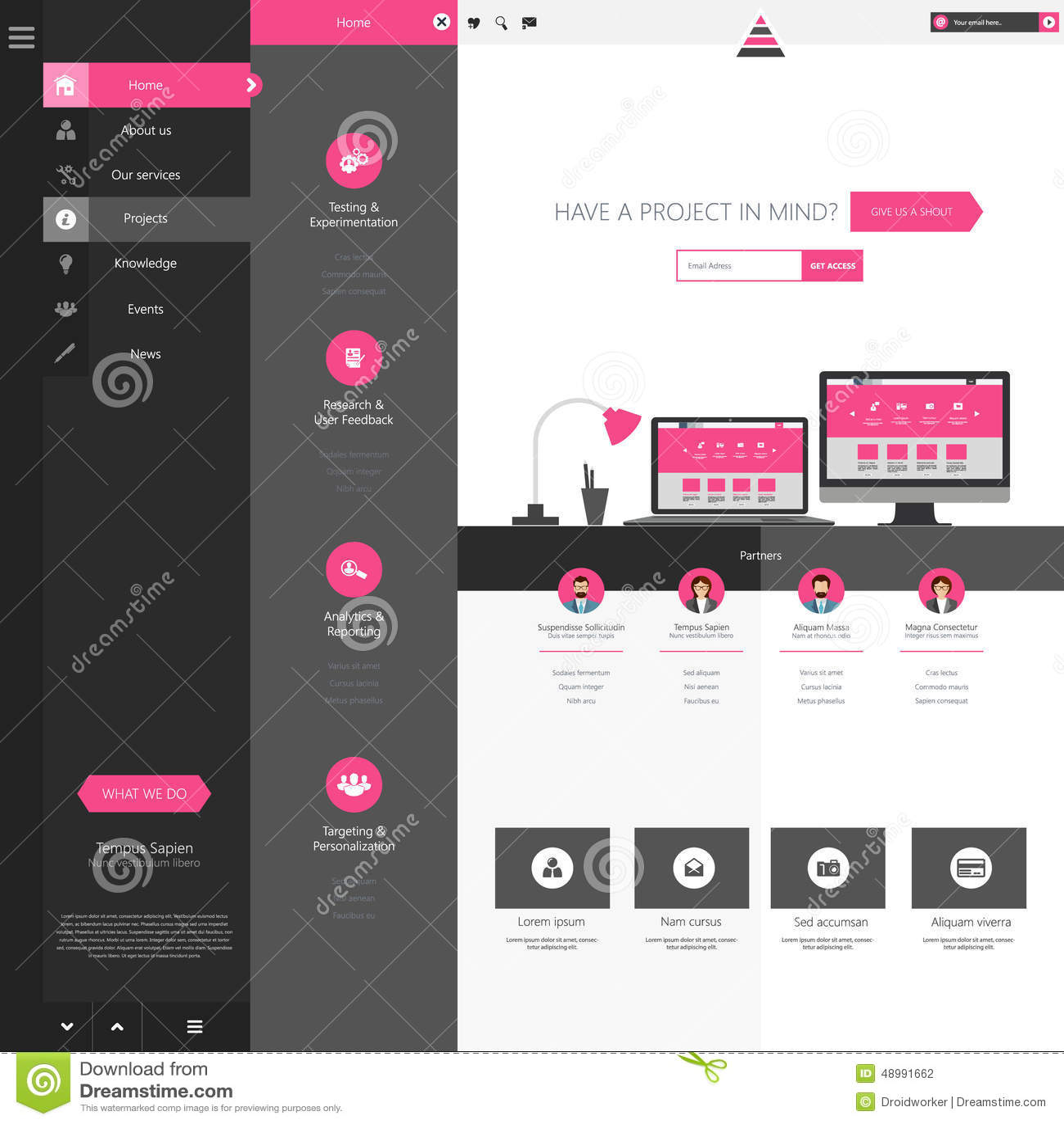 Design Of The Menu For A Website Creative Web Design Stock Vector - Website menu design templates