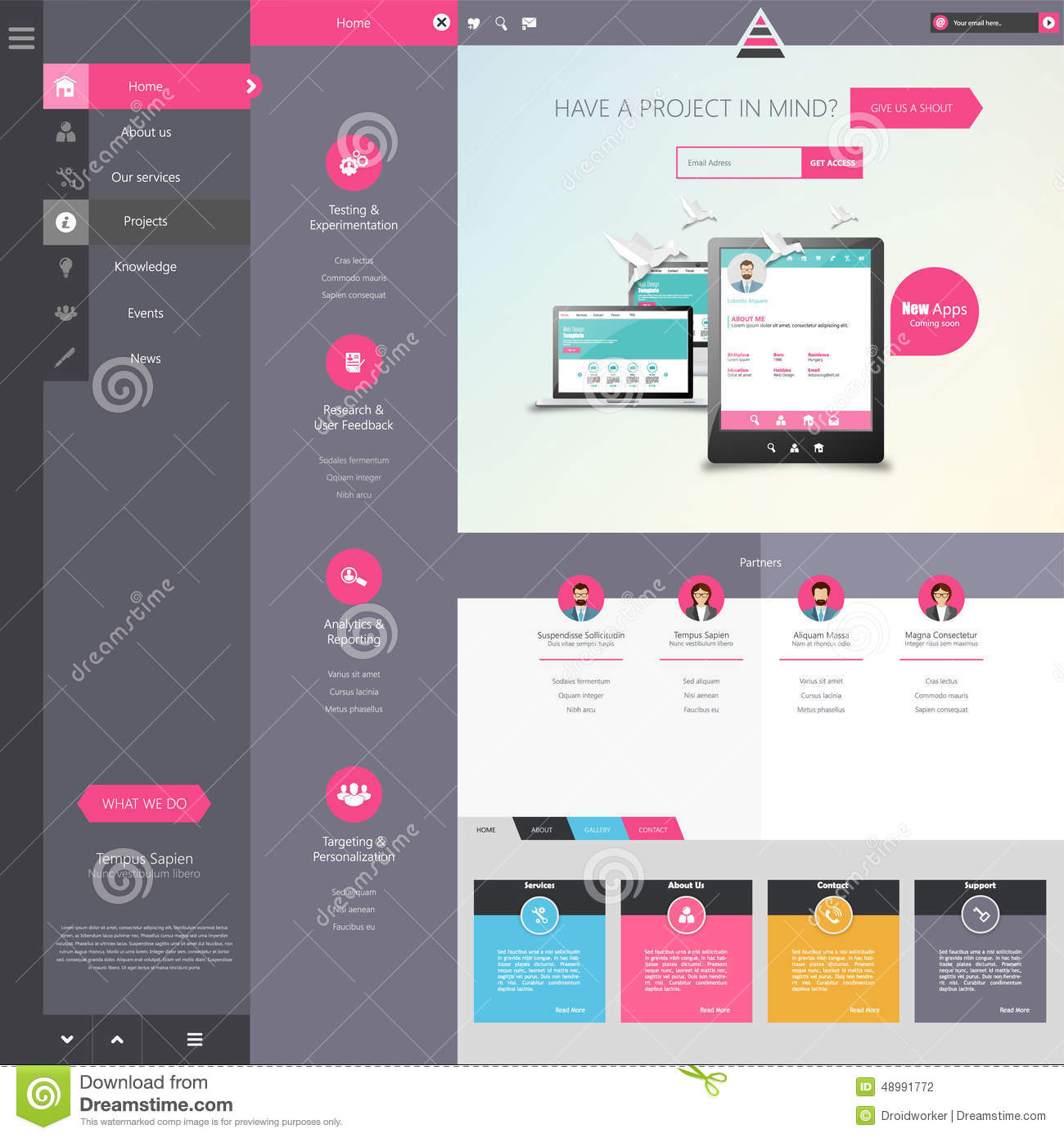 design of the menu for a website creative web design
