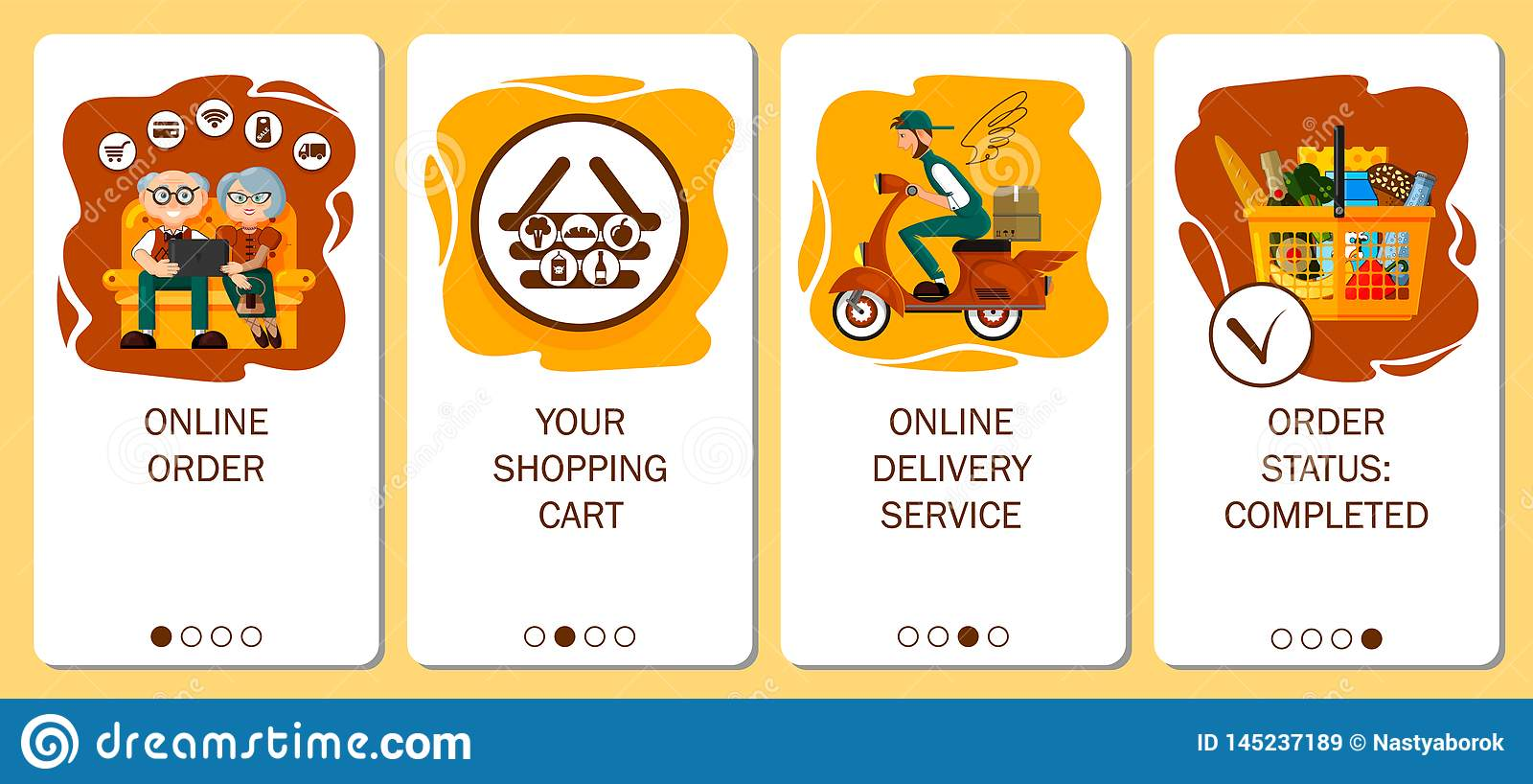 Design of mobile app to onboarding screens. Online order service, food delivery, order grocery in online store