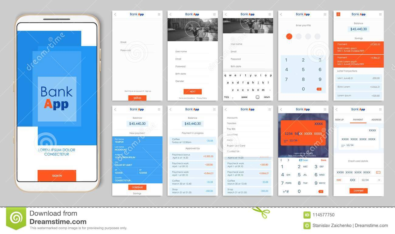 Design Of The Mobile App UI, UX. A Set Of GUI Screens For Mobile