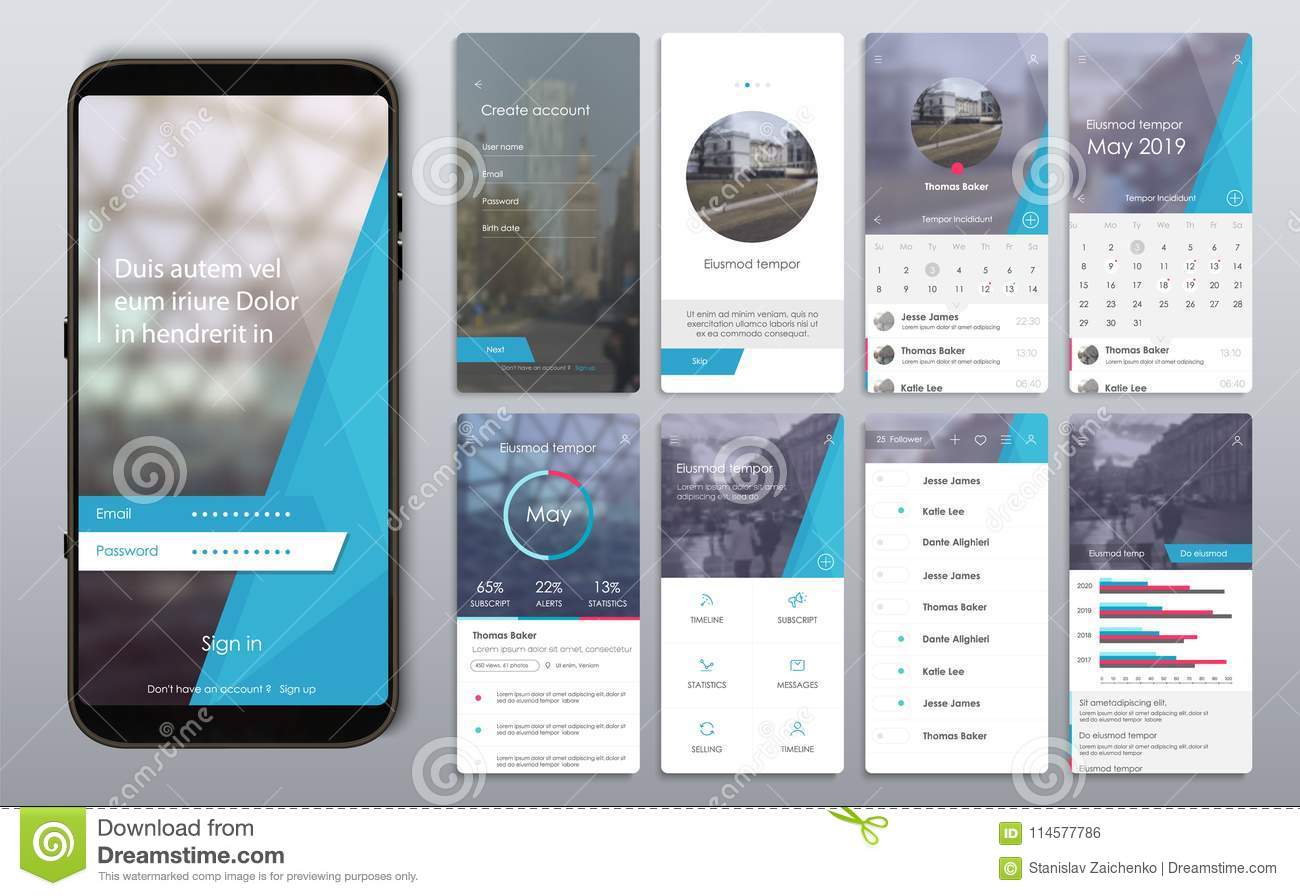 Design of the mobile application, UI, UX, GUI
