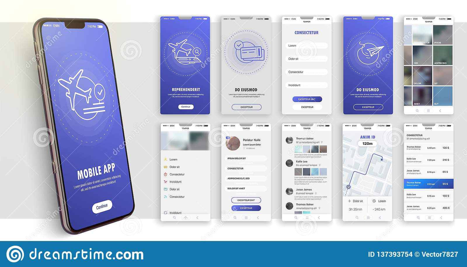 Design of the mobile application, UI, UX. A set of GUI screens with login and password input.