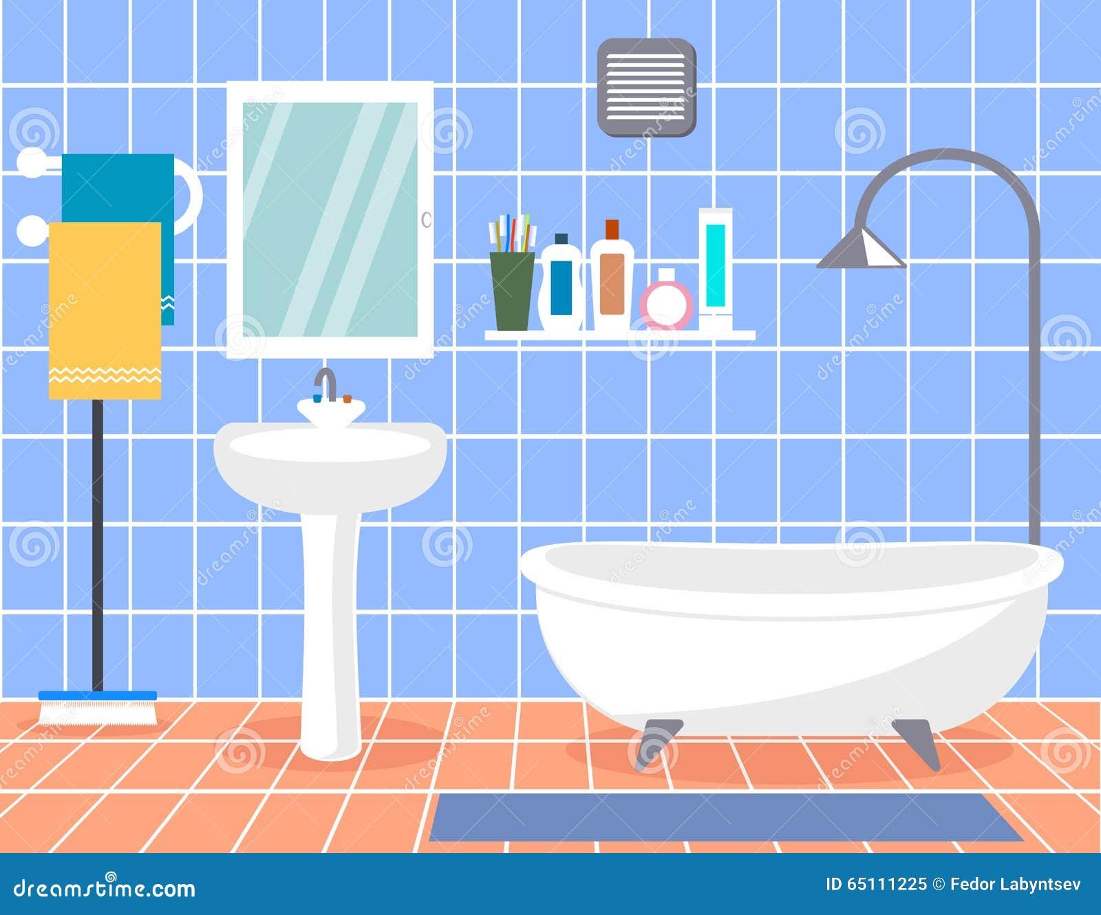 Design Modern Bathroom. Bathroom Interior With In Flat ...