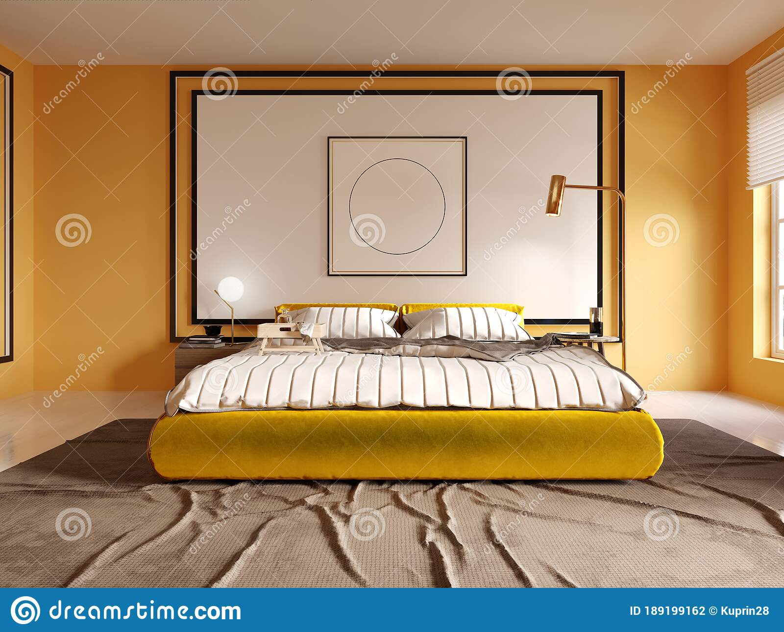 Design Of A Modern Bedroom In Yellow With A White Headboard Over The Bed Yellow Bed Stock Illustration Illustration Of Bedding Blanket 189199162