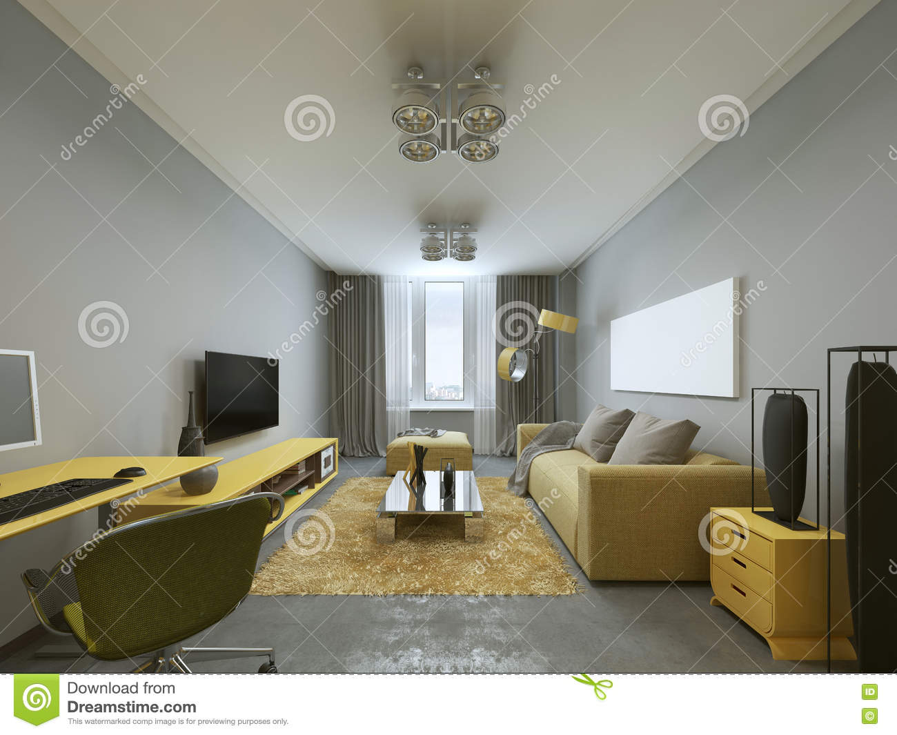 Design modern living room in grey and yellow colors 3d render