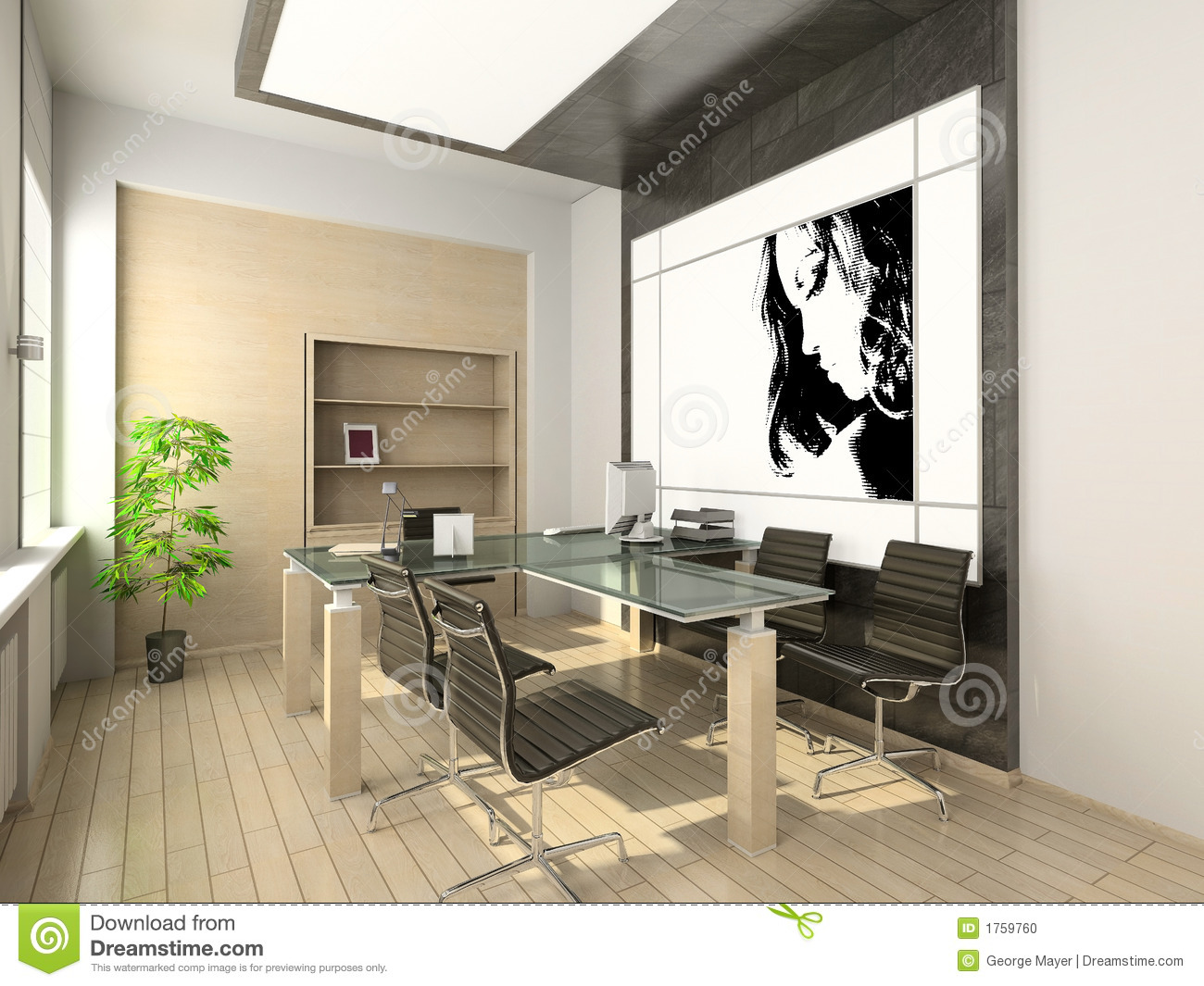 design of modern office hi tech interior stock. Black Bedroom Furniture Sets. Home Design Ideas