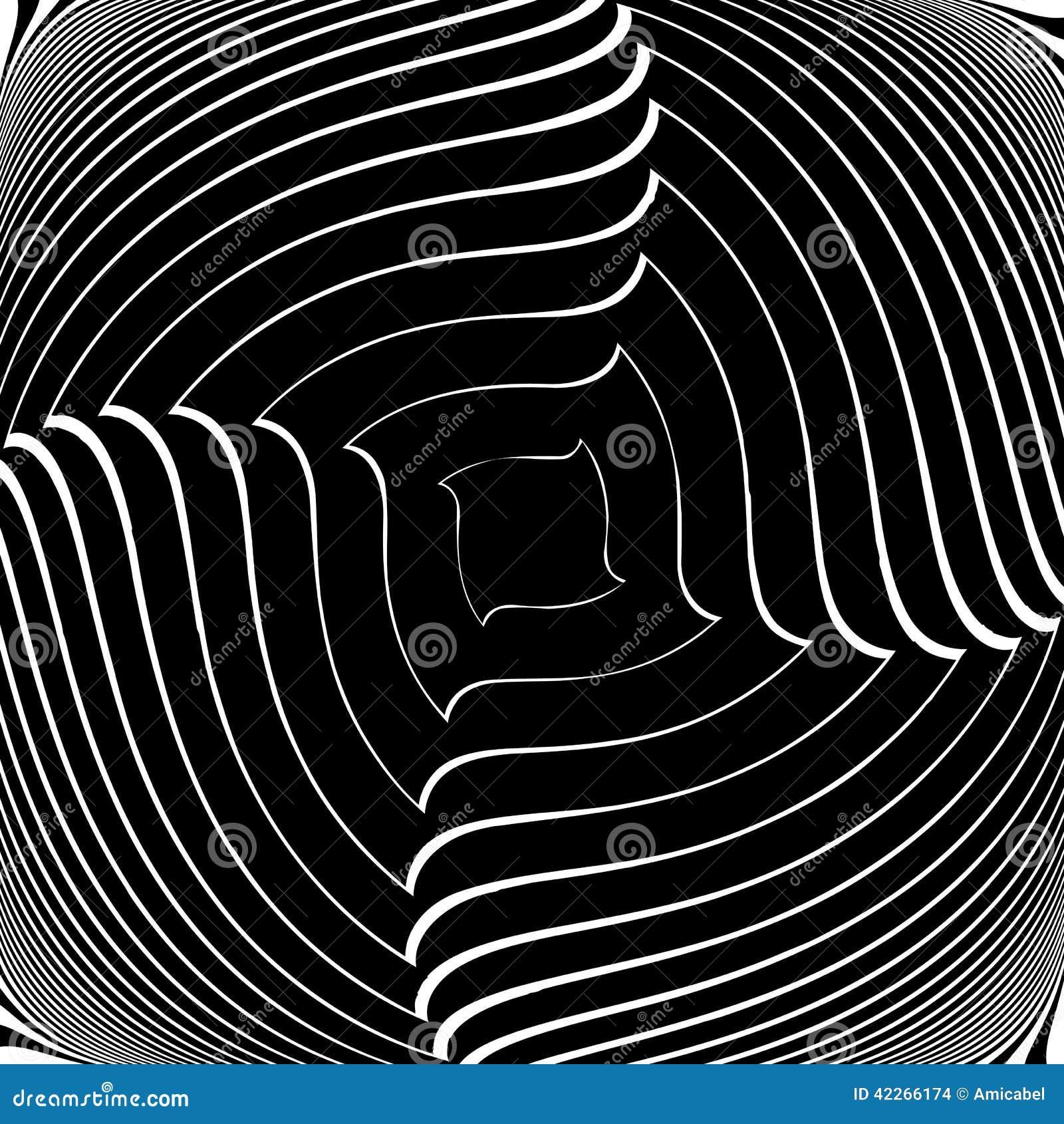Design Monochrome Vortex Illusion Background Stock Vector