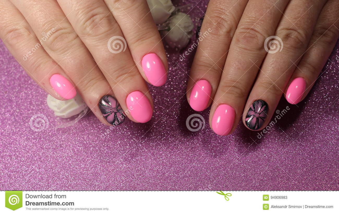 Design Nails With A Flower Pattern Stock Image Image Of Fashion
