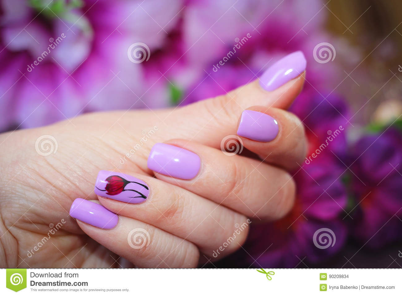The Design Of Nails Spring Style Stock Photo Image Of Nails Skill