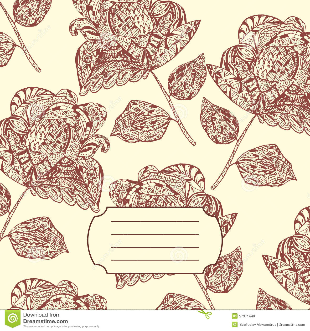 Design Of Notebook Cover With Hand Drawn Doodle Ethnic Flowers P