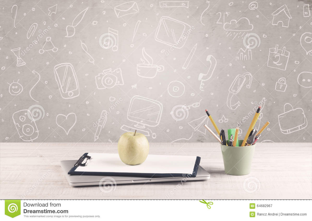 Design Office Desk With Drawings Background Stock Photo Image
