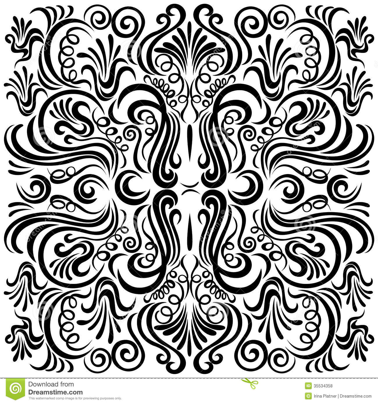 Black Flower And Bud Pattern Royalty Free Stock Photos: Design Pattern With Swirling Floral Decorative Orn Stock