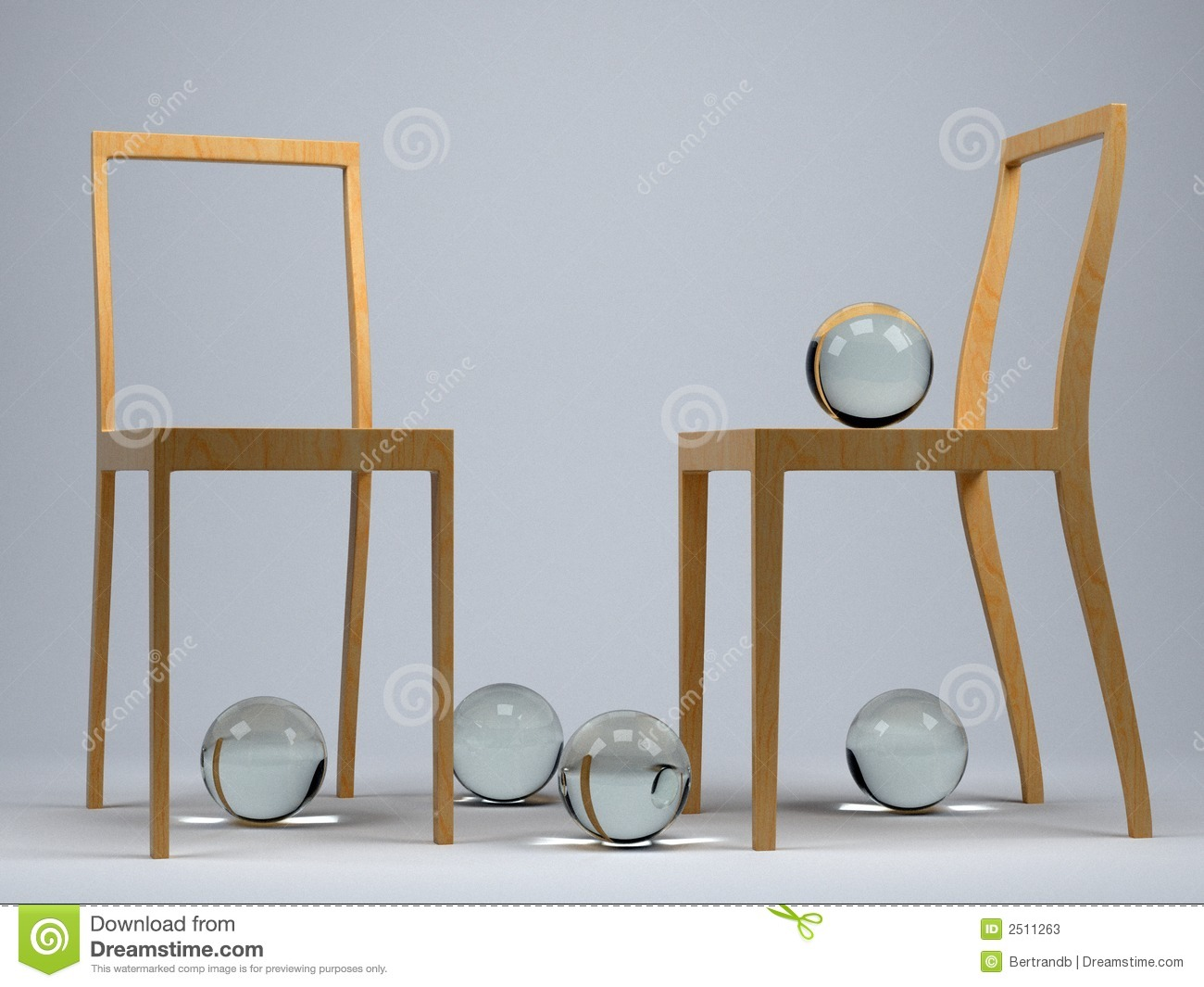 Two Modern Chairs In A Studio Setting With Five Glass Balls
