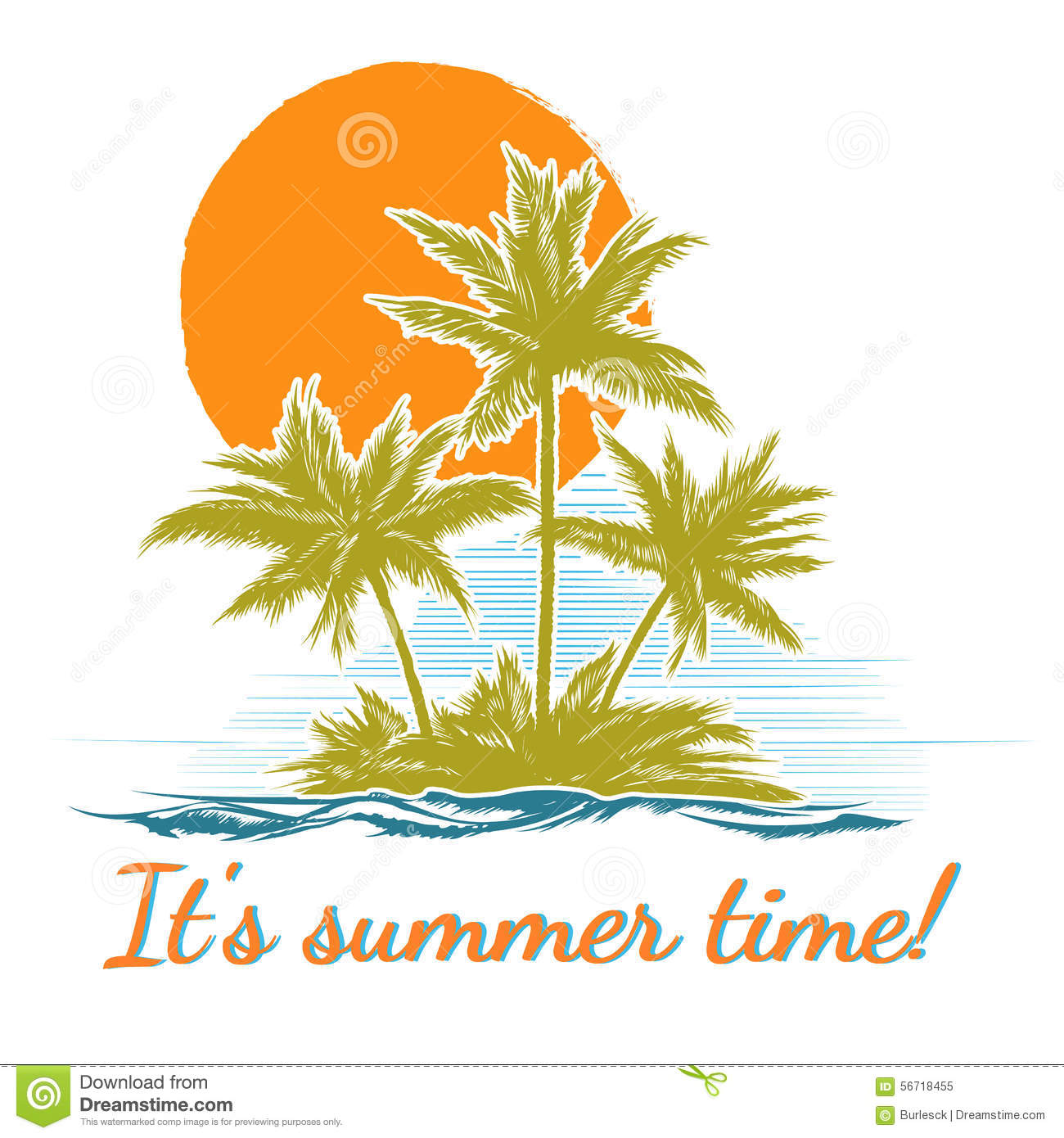 Design Print For Summer T-shirt With Palm Trees Stock