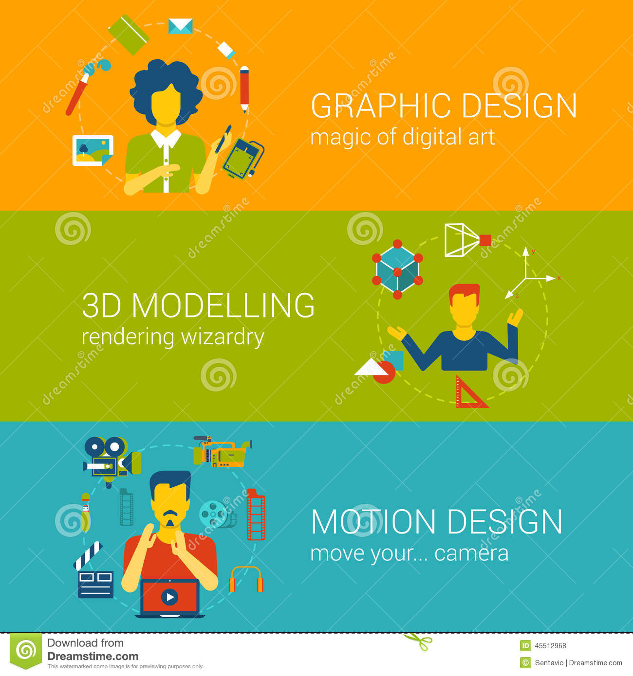 design process professions concept flat set vector infographics