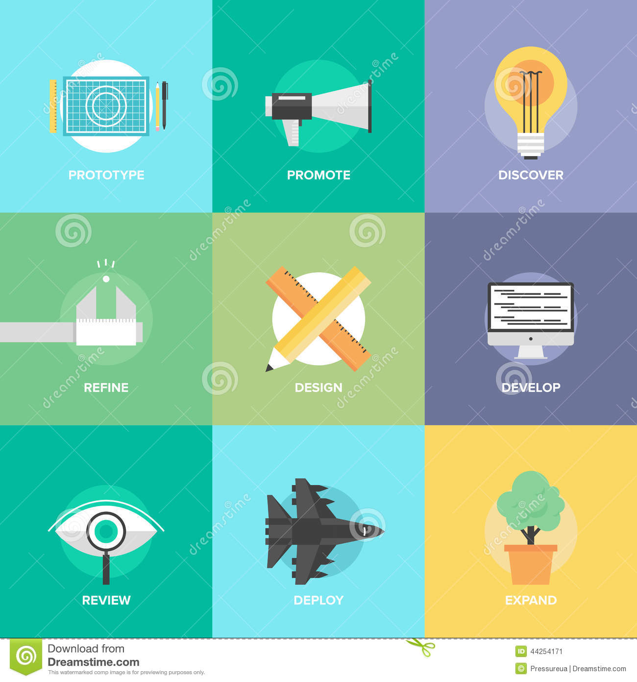 Design product development flat icons stock vector image for Product design marketing