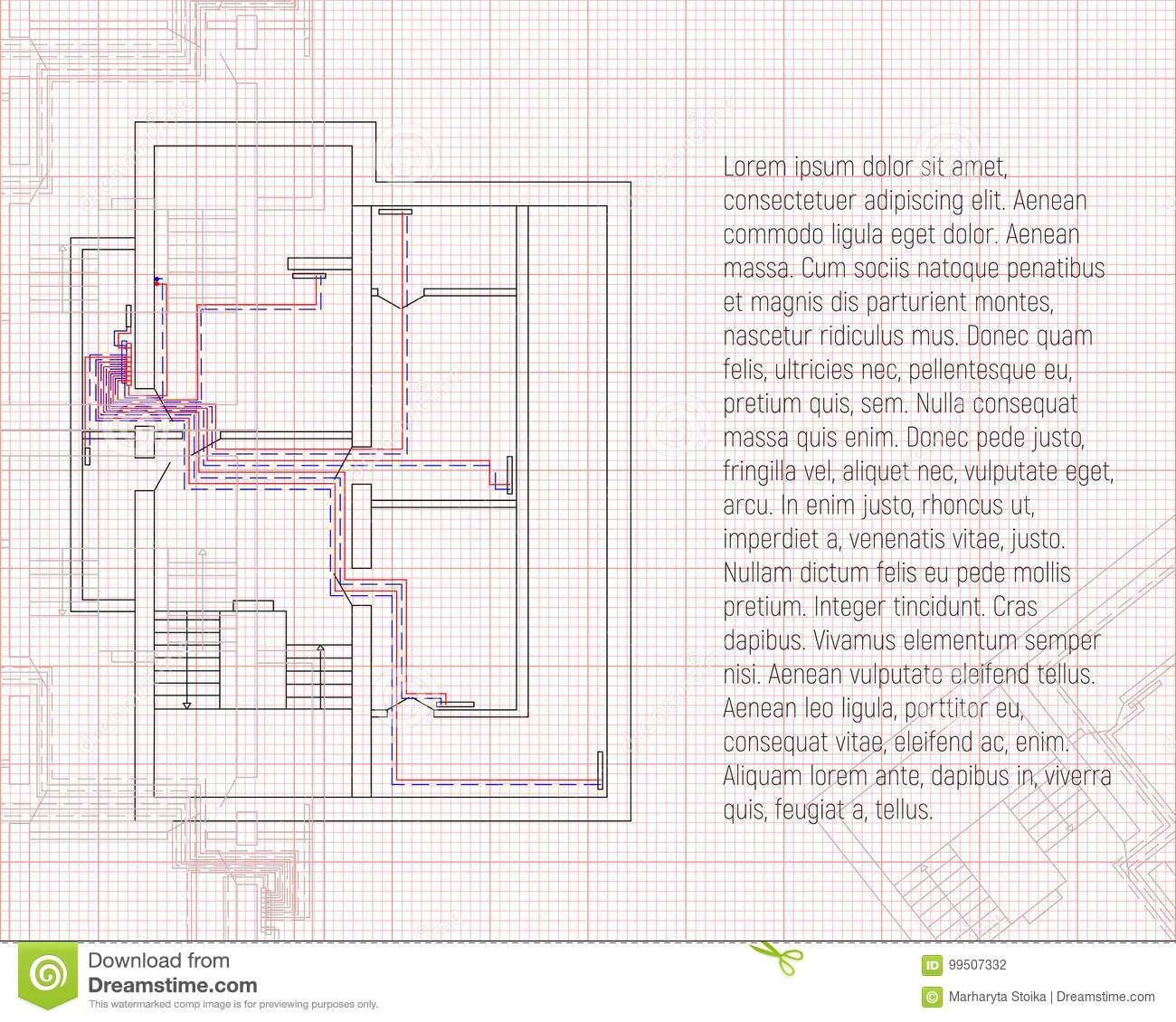 design project of heating construction blueprint sketch technical